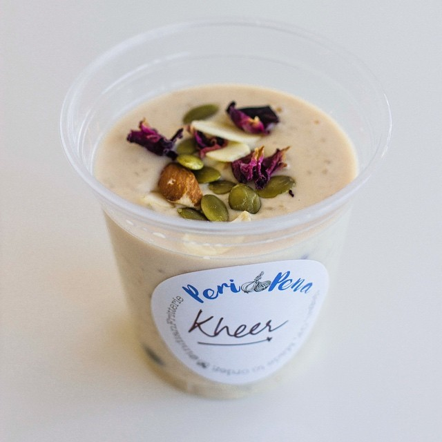 """Looking to top an amazing Saturday tomorrow? Come try our brand new - limited batch - """"kheer"""" or Indian rice pudding! Flavoured with saffron, cardamom, rose and served icy cold! Only tomorrow,Sunday at @kirribilli_markets from 8:30am untill sold out! We're also bringing back our winner of a menu - golden Sweet Potato and chunky cauliflower fritters! Frying non stop till 3pm! . . . #kirribilli #kirribilliMarkets #indianfritterie #PeriPena #indianFritters #vegan #glutenFree #ricePudding #kheer #Saturday #SydneyVeganGuide #sydneyMarkets #milsonsPoint #schoolHolidays #sydneyFoodie #rose #indianFood #sunday #weekendInSydney #longWeekend"""