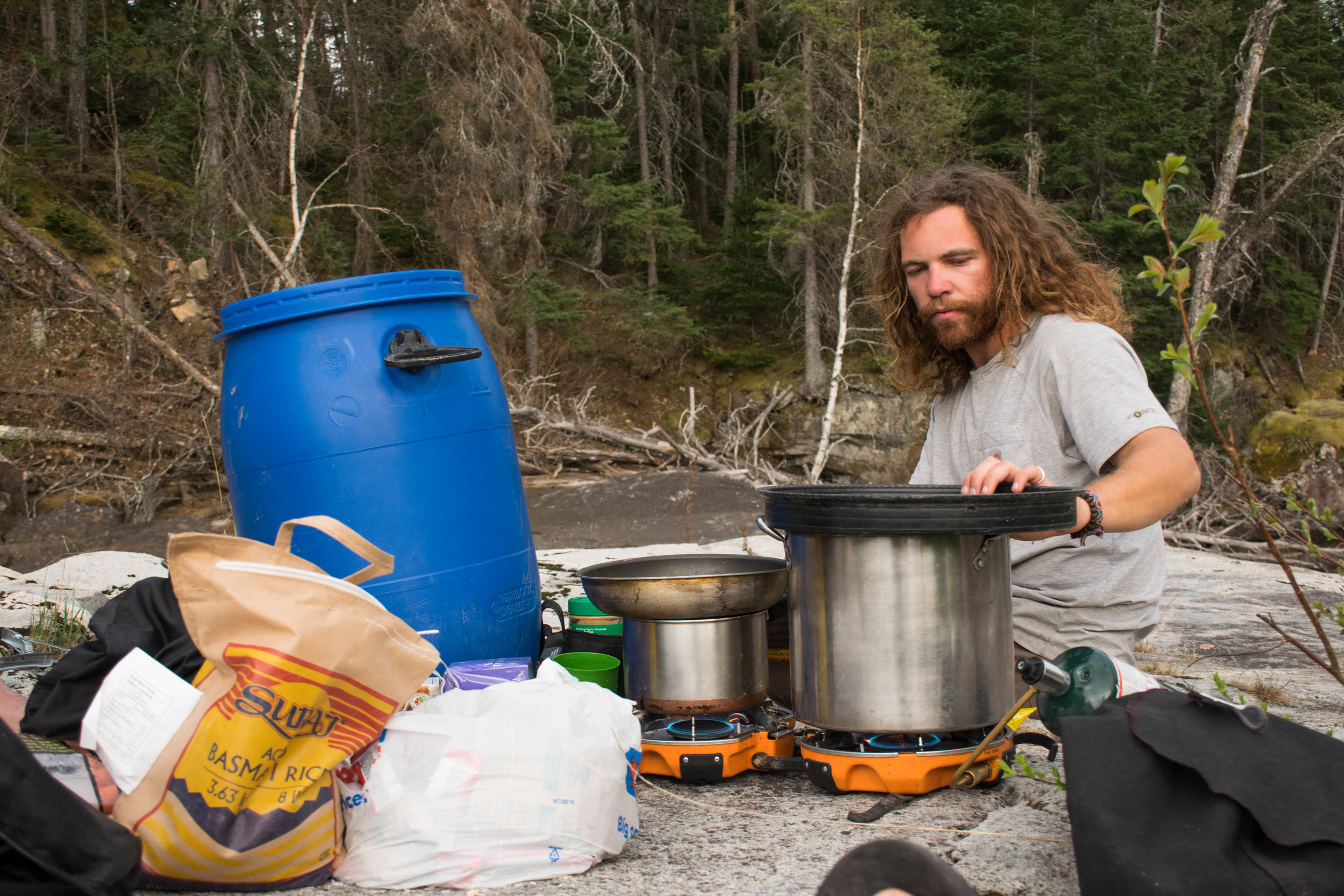 Liam cooks up dhal bat for dinner