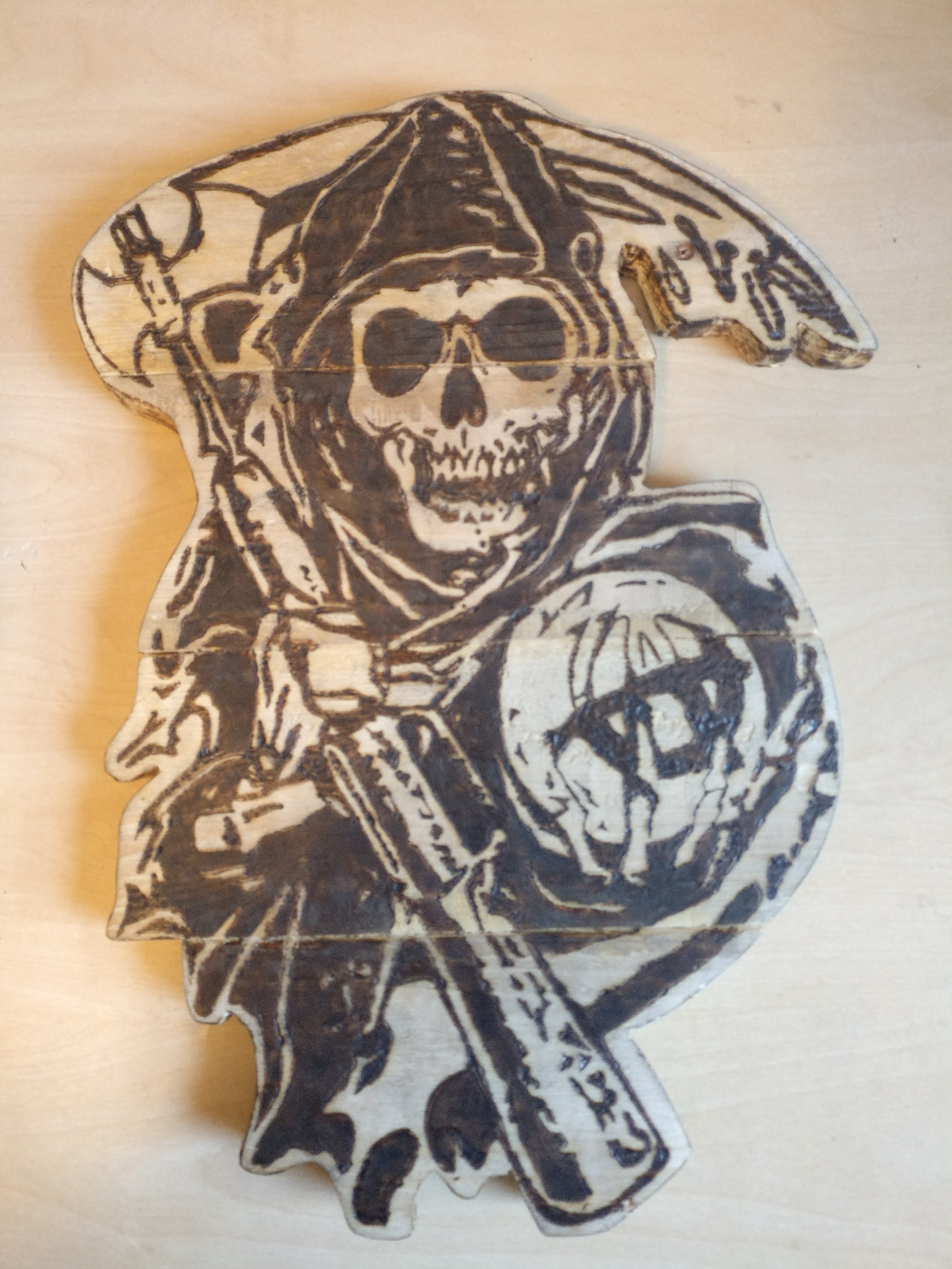 Sons of Anarchy Grim Reeper - Pyrography technique