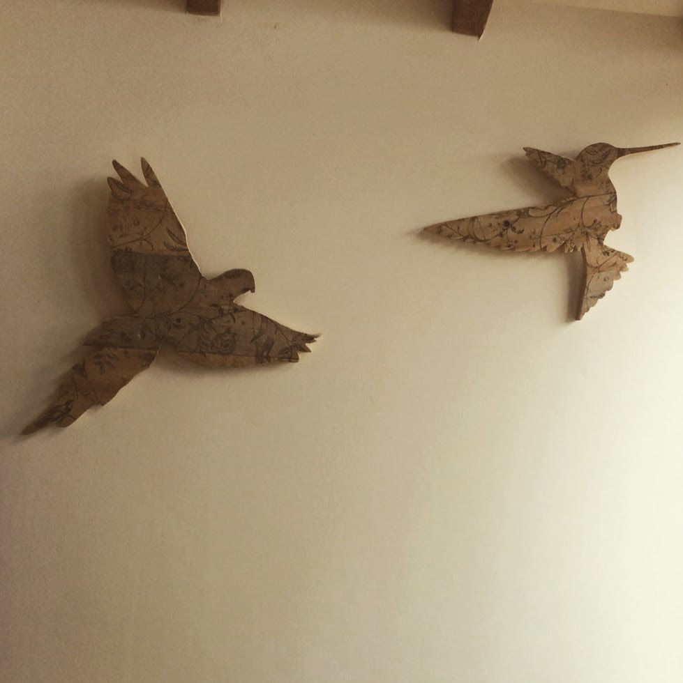Sparrow Hawk and Hummingbird made from scrap wood and napkins