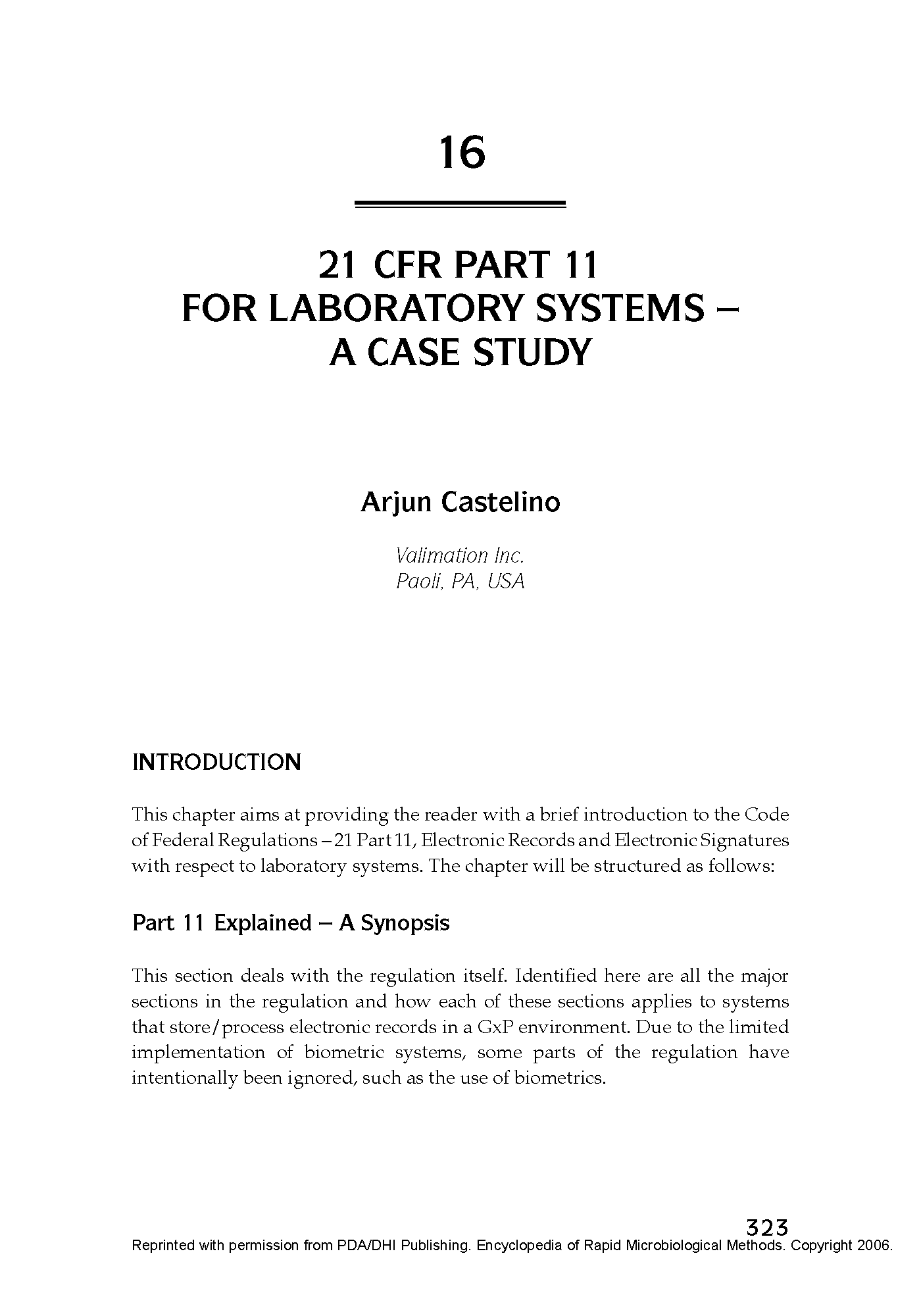 21 CFR Part 11 - Case Study Published in the Encyclopedia of Rapid Microbiological Methods - Volume 1, DHI Publishing_Page_01.png
