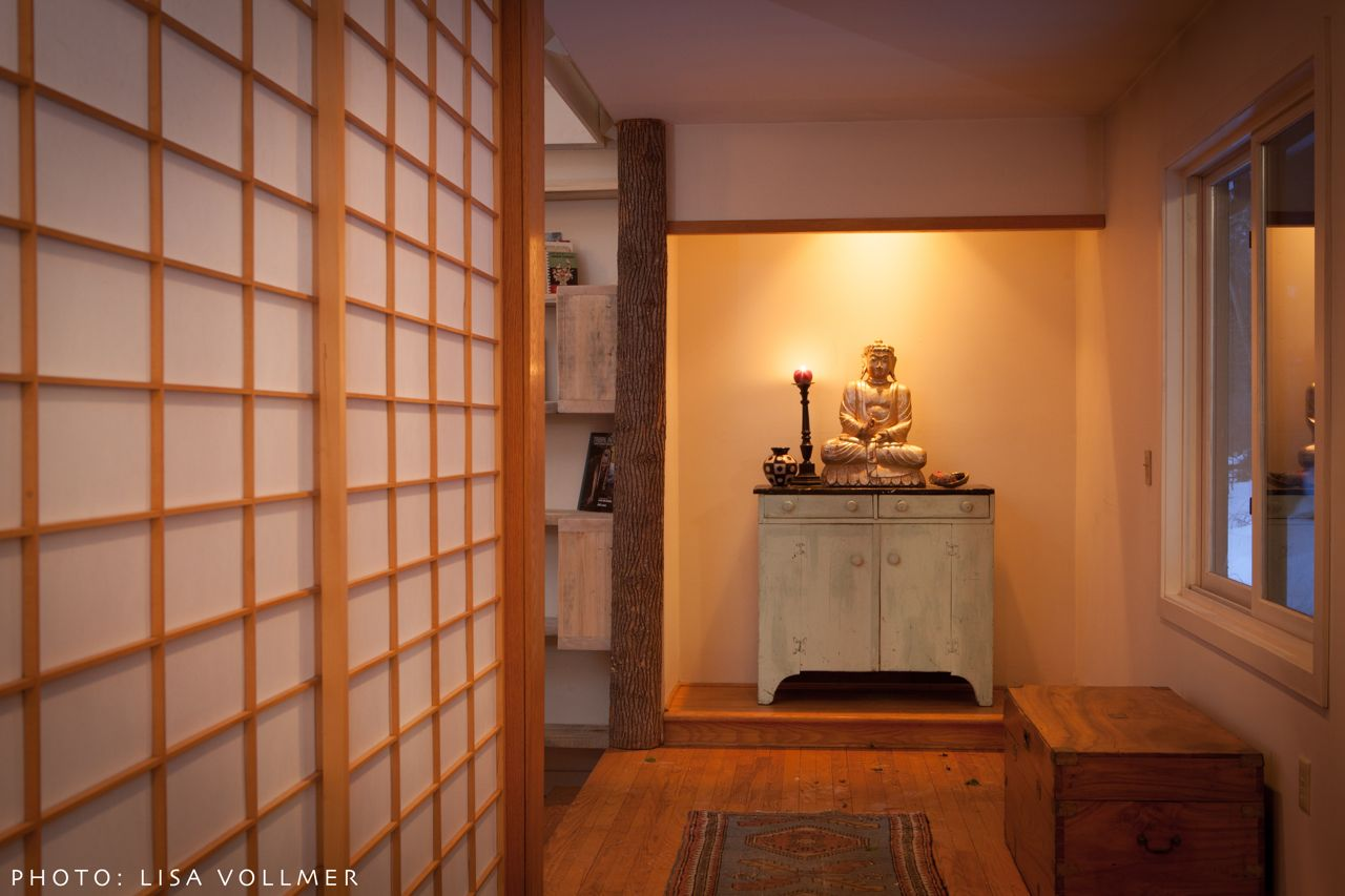 Race Mountain House foyer with Japanese rice paper sliding doors