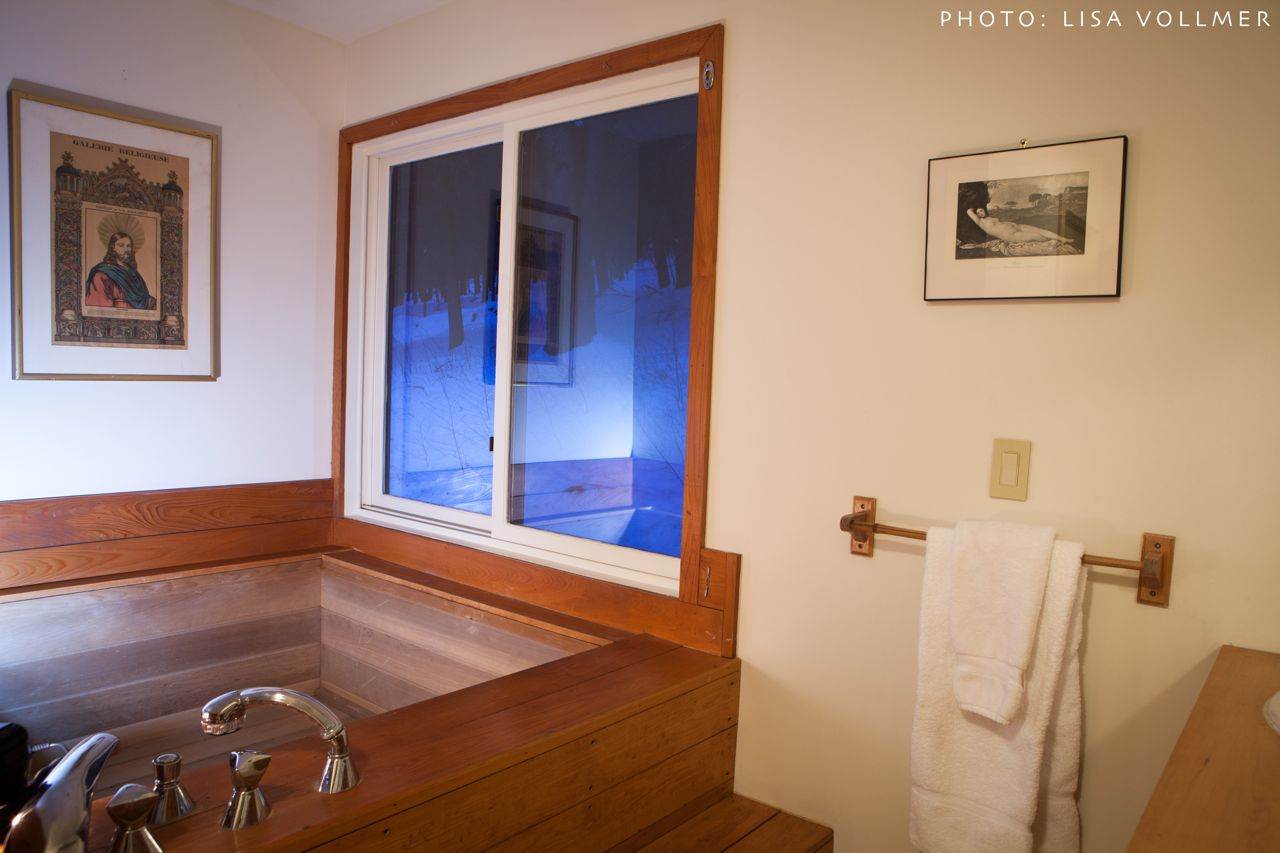 Japanese soaking tub in first floor bathroom at Race Mountain House