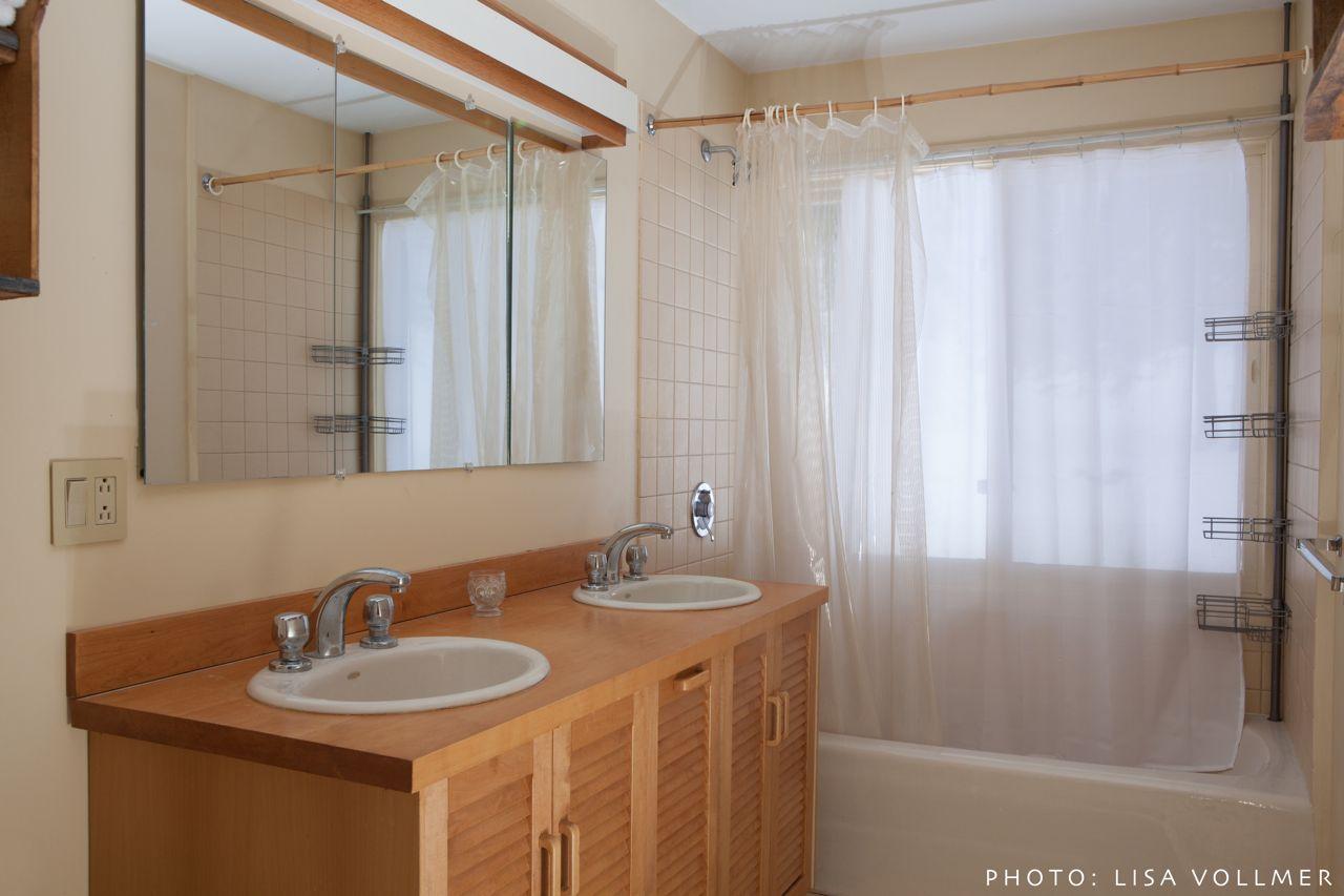 Second floor bathroom with double sinks Race Mountain House