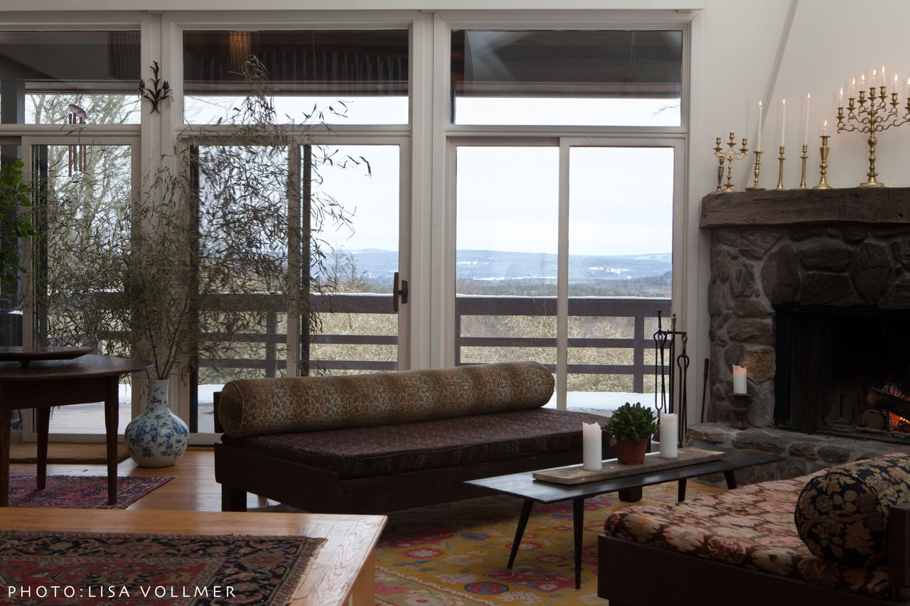 Race Mountain House living room view and first floor deck