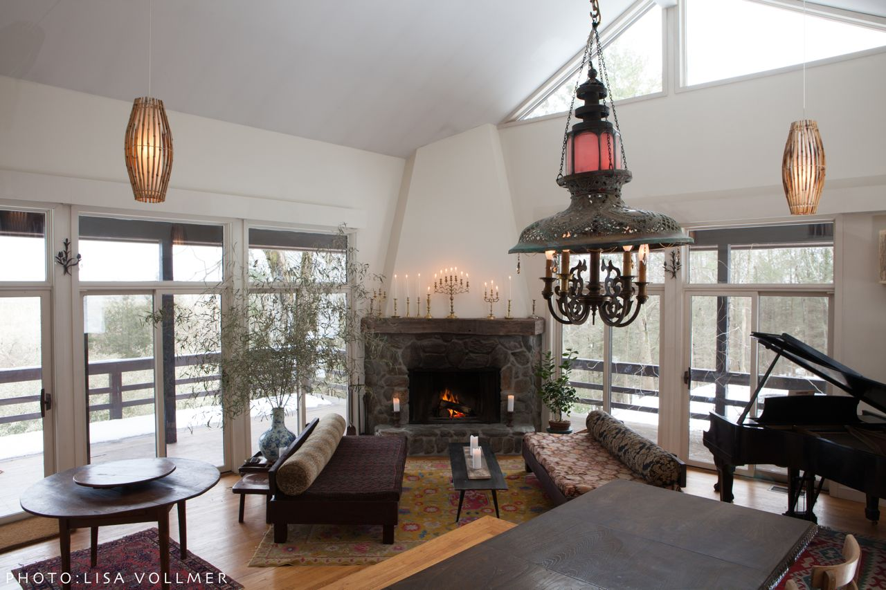 Race Mountain House living room and reclaimed copper chandelier
