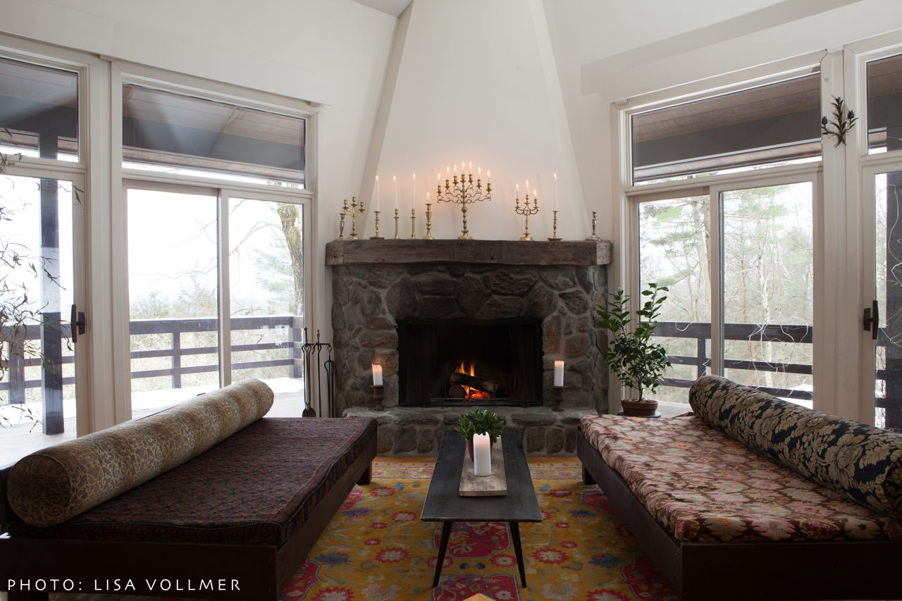 Race Mountain House living room sunken couches and fireplace