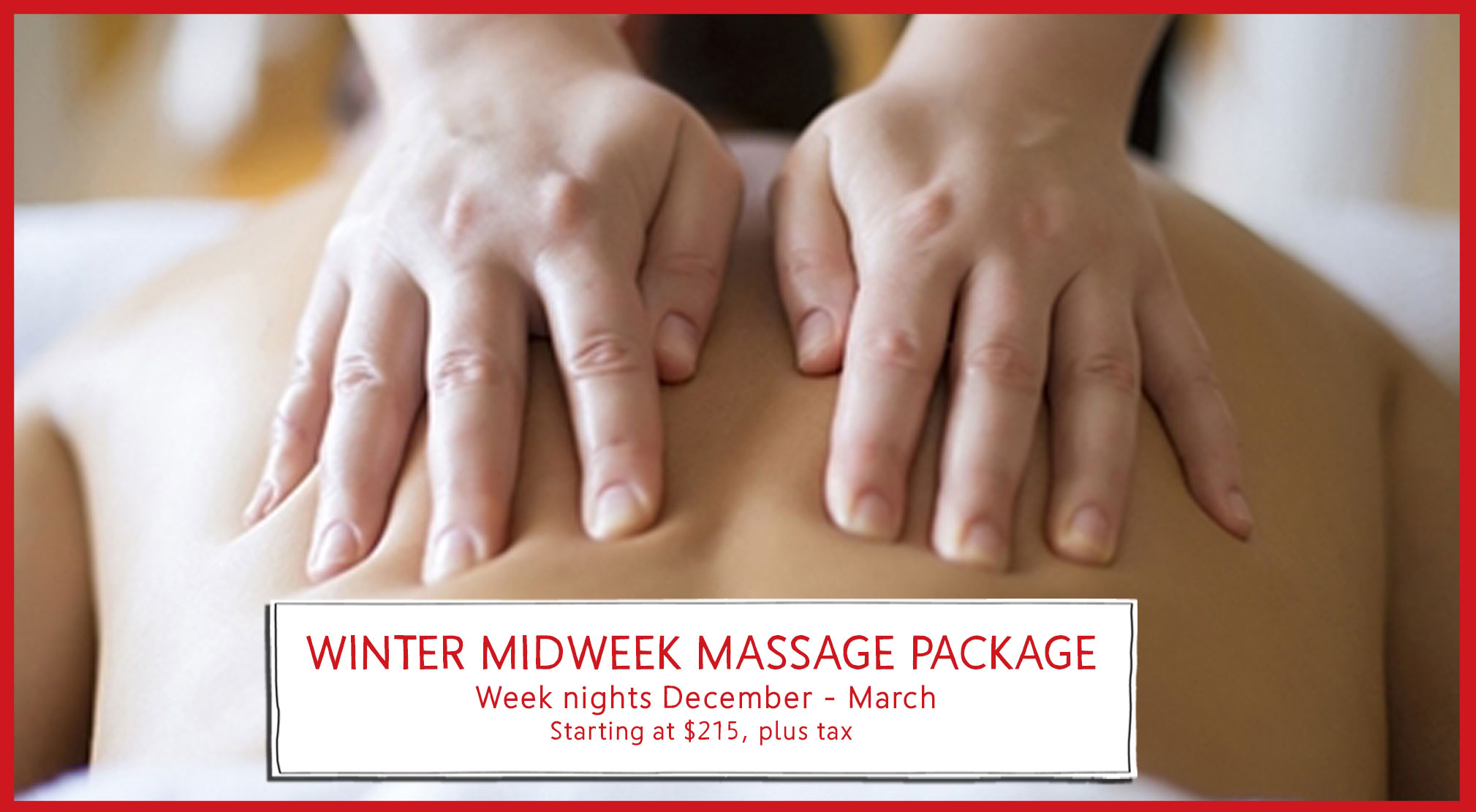 Winter Midweek Massage Package at Race Brook Lodge