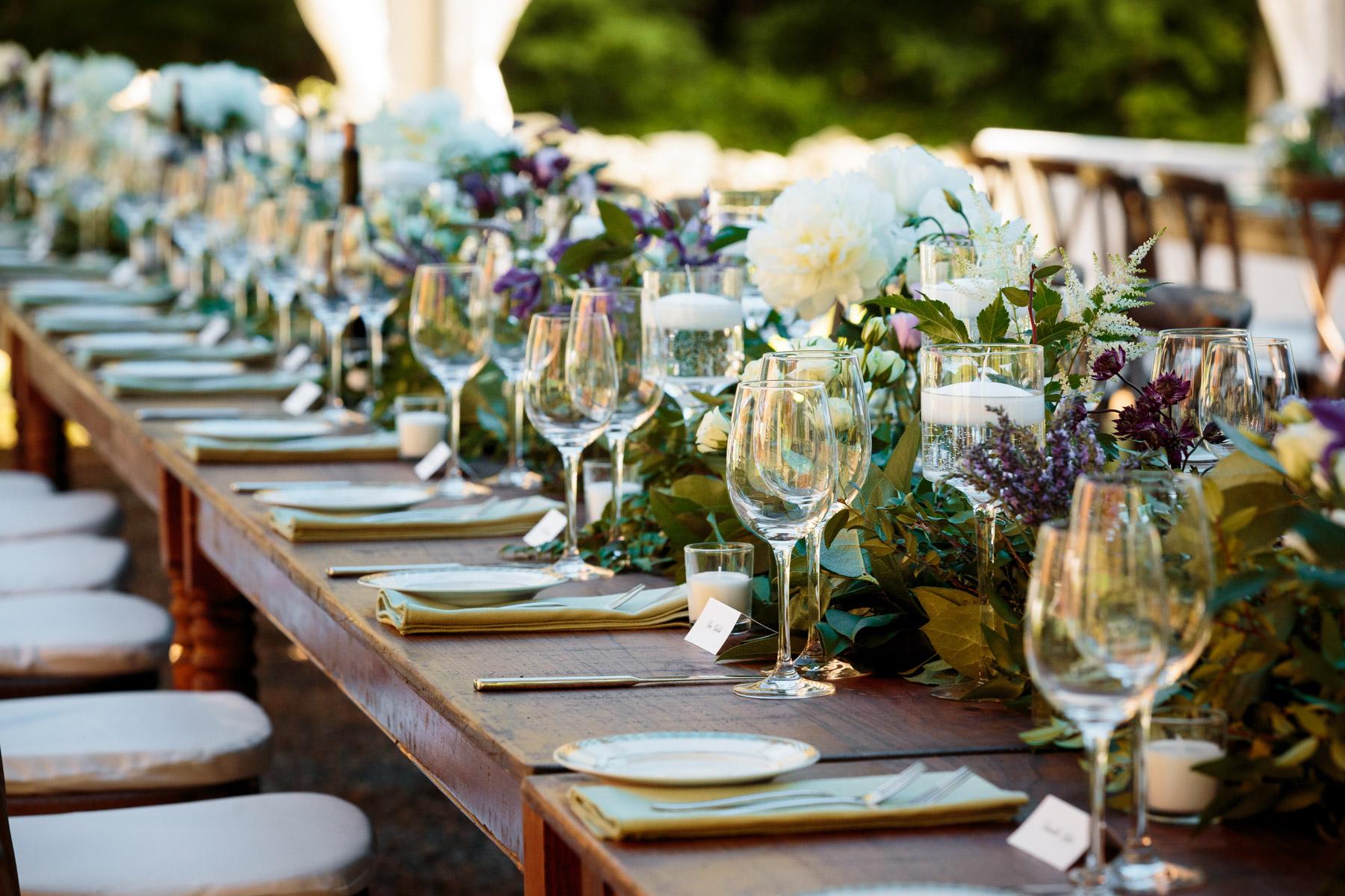 Wedding place setting decor Race Brook Lodge Weddings