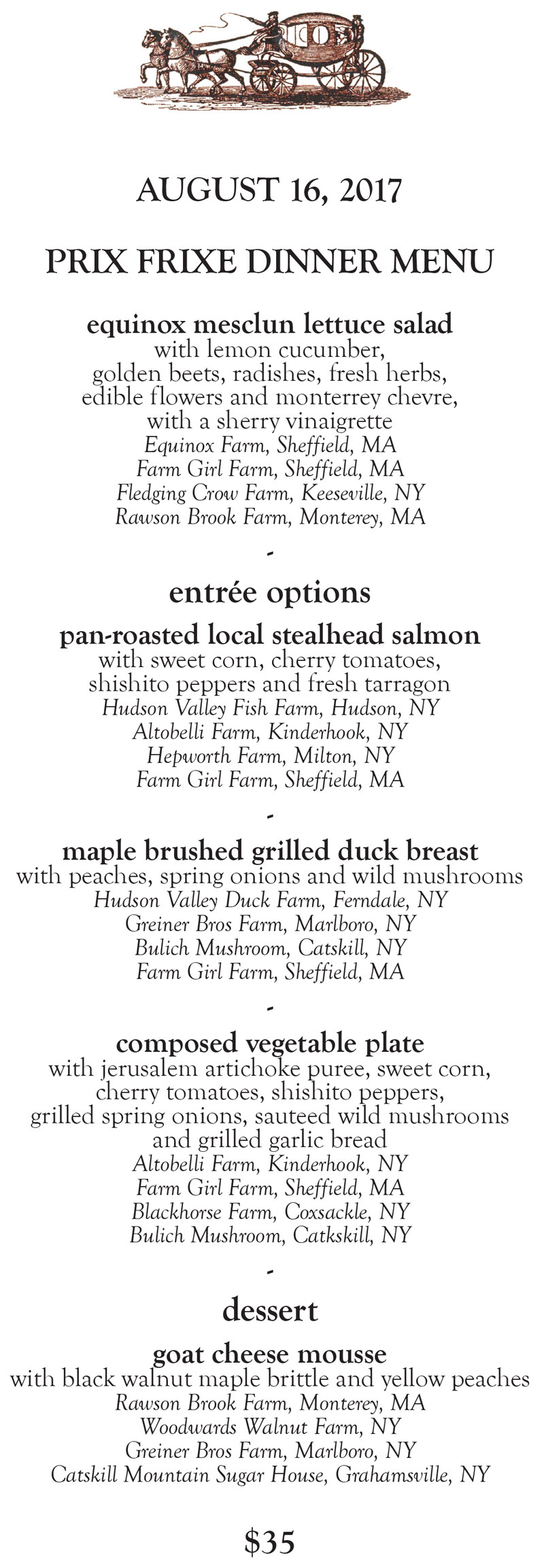 The Stagecoach Tavern Prix Frixe Dinner Menu Aug. 16, 2017 by Chef Laurel Barkan
