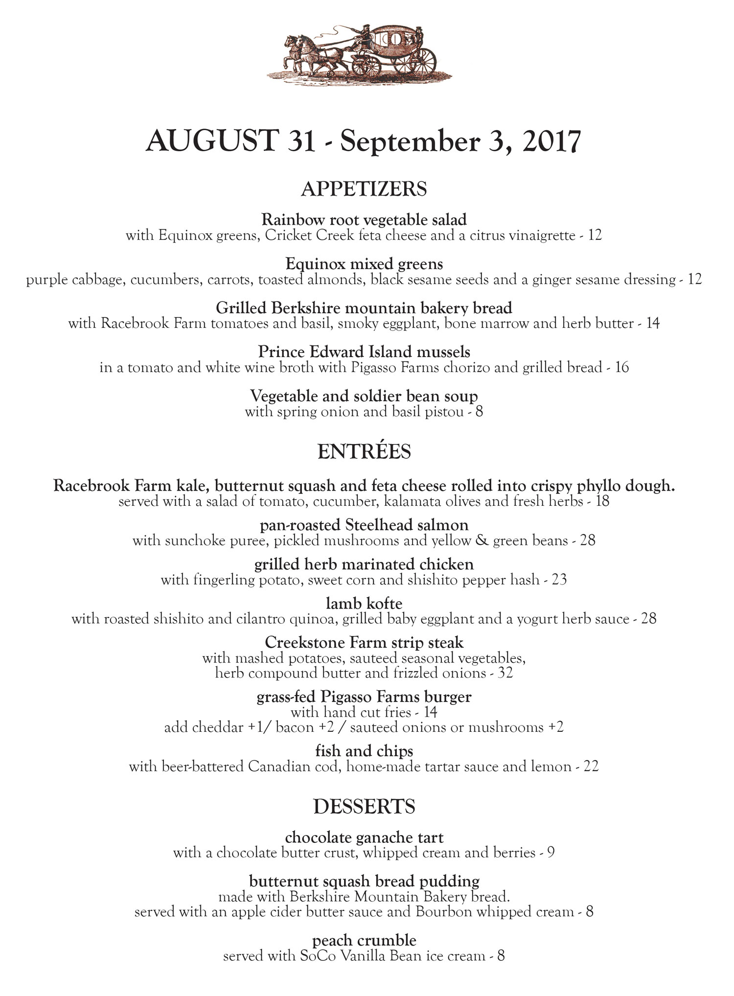 The Stagecoach Tavern Dinner Menu Aug. 31 - Sept. 3, 2017 by Chef Laurel Barkan