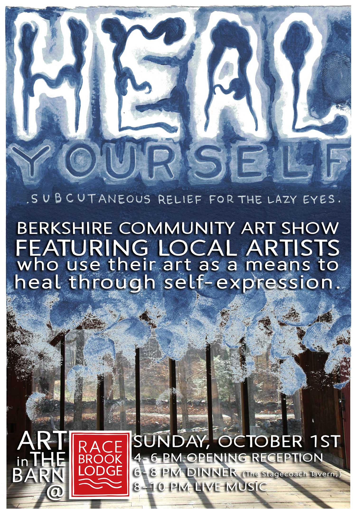 Art in The Barn at Race Brook Lodge: Sunday October 1st, 2017 - 4-6pm opening reception, 6-8 pm dinner by the Stagecoach Tavern (served in The Barn), 8-10 pm live music in The Barn.