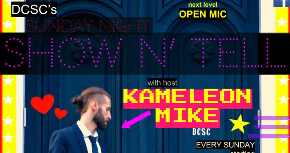 Every Sunday night starting September 24th, join us for the Down County Social Club Show n' Tell - live streaming open mic hosted by Kameleon Mike.