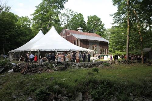 Wedding event tent set up at Race Brook Lodge