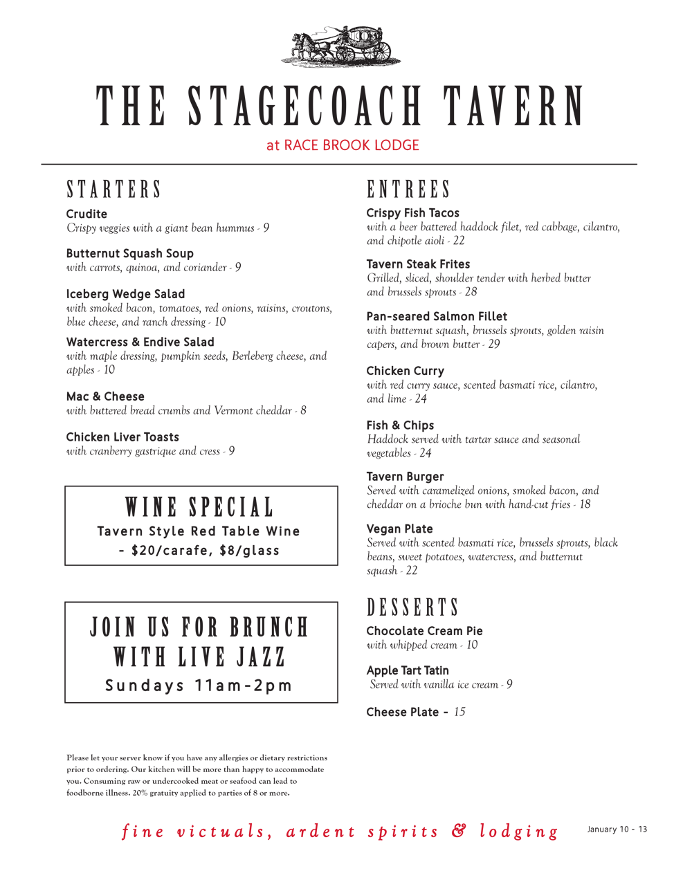 This week's menu at the Stagecoach Tavern
