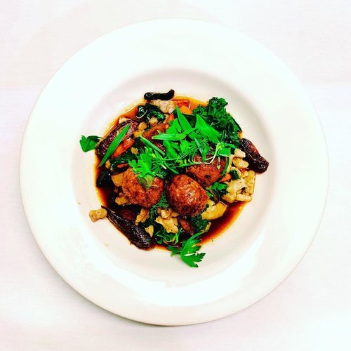 Lamb meatballs, roasted caraway spaetzle, roasted carrot, kale