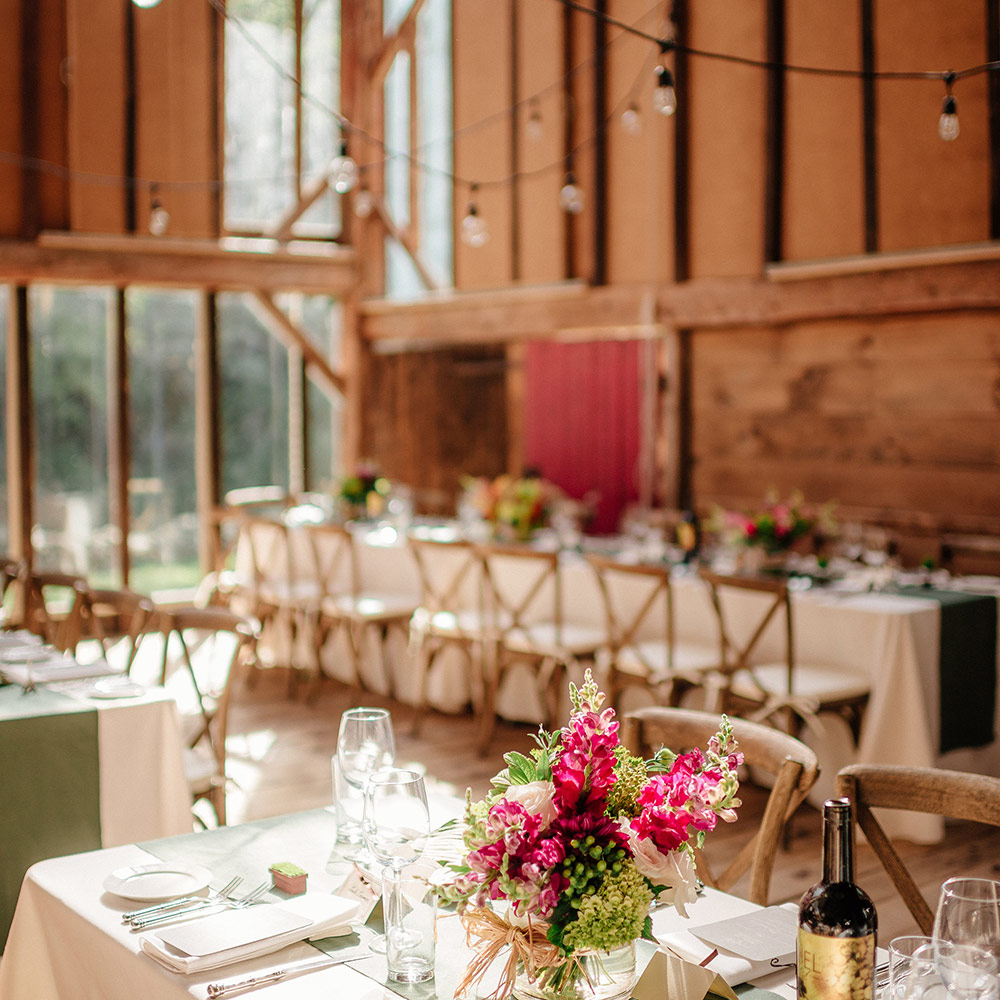 Wedding decor featured in the spacious Event Barn here at Race Brook Lodge.