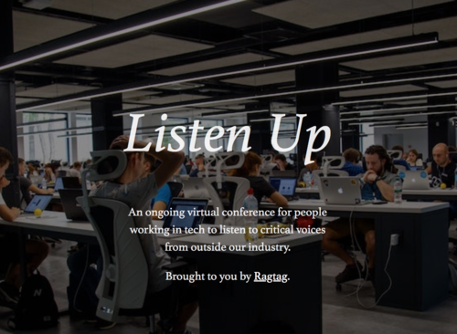 Graphic with 'Listen Up' and the description of the conference overlaid on a picture of a large office.