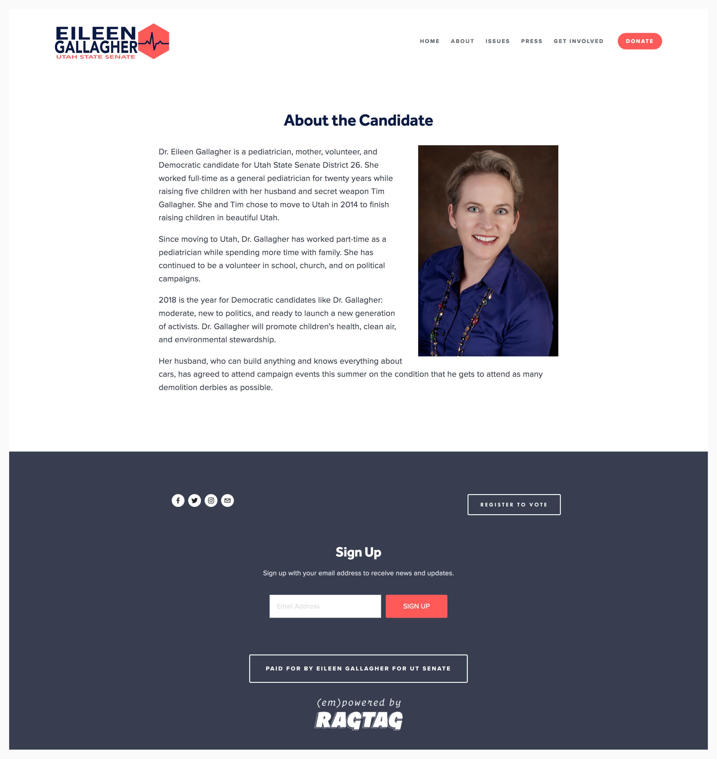 Eileen Gallagher for Utah State Senate's homepage.