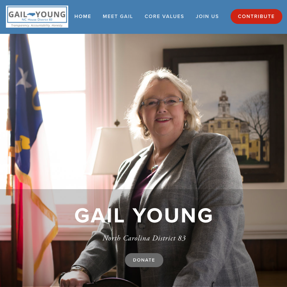 Gail Young for North Carolina State Legislature's homepage.
