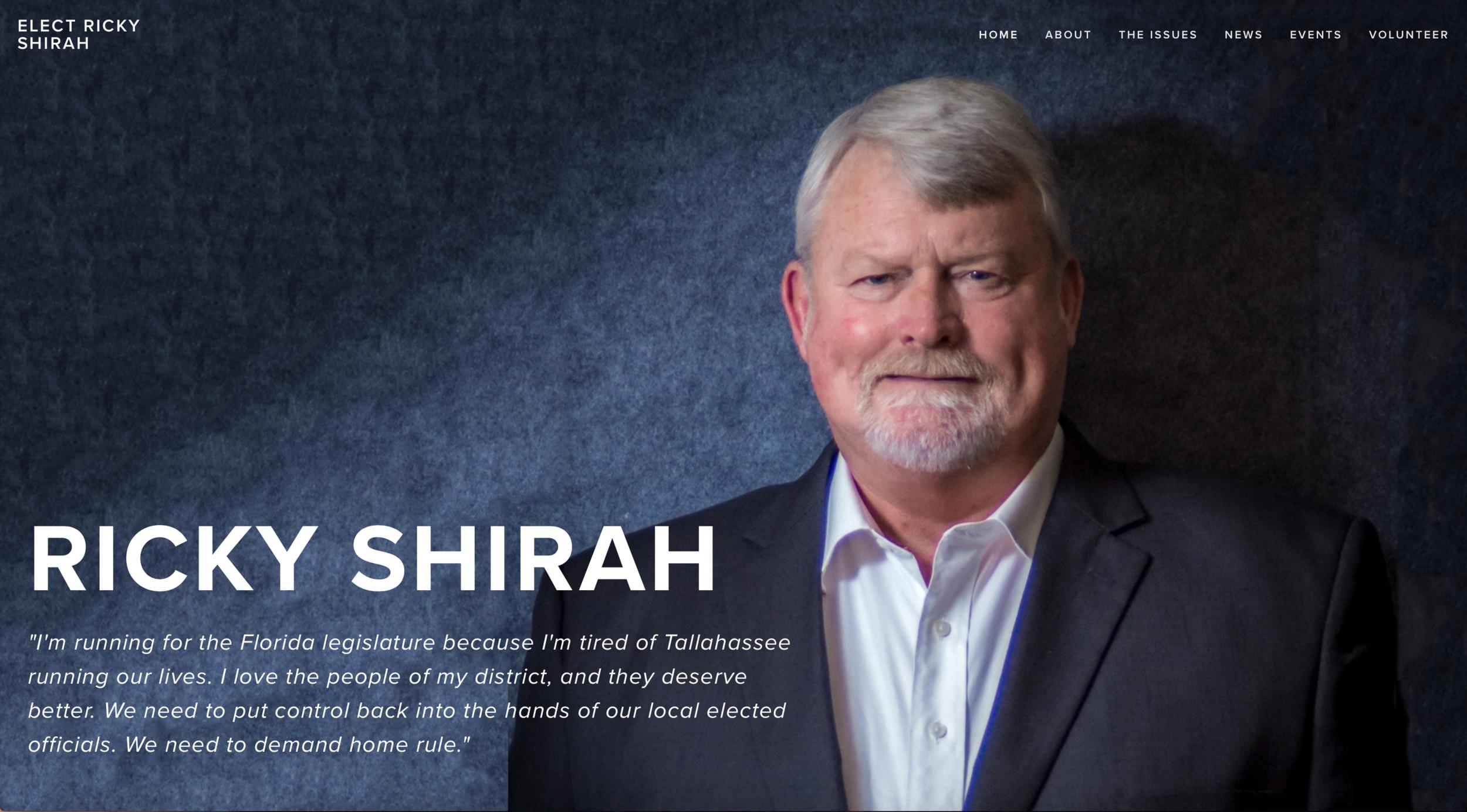 Ricky Shirah for Florida state legislature's homepage.