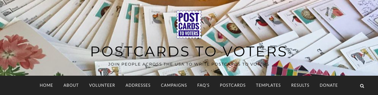 Postcards to Voters' header on their homepage.