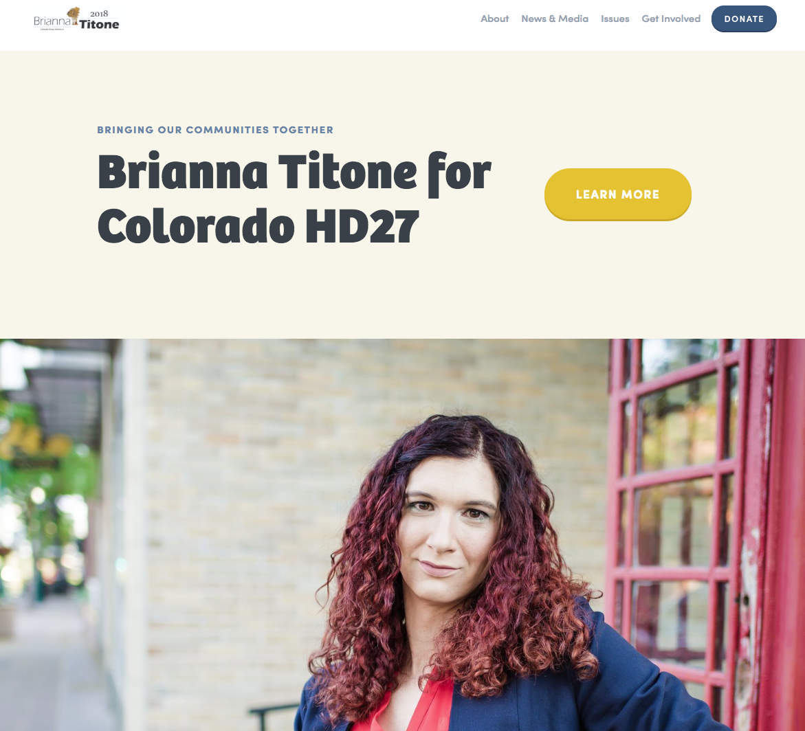 Homepage for Brianna Titone's website. After winning her election, she transformed her site into a place where she communicates with her constituents.