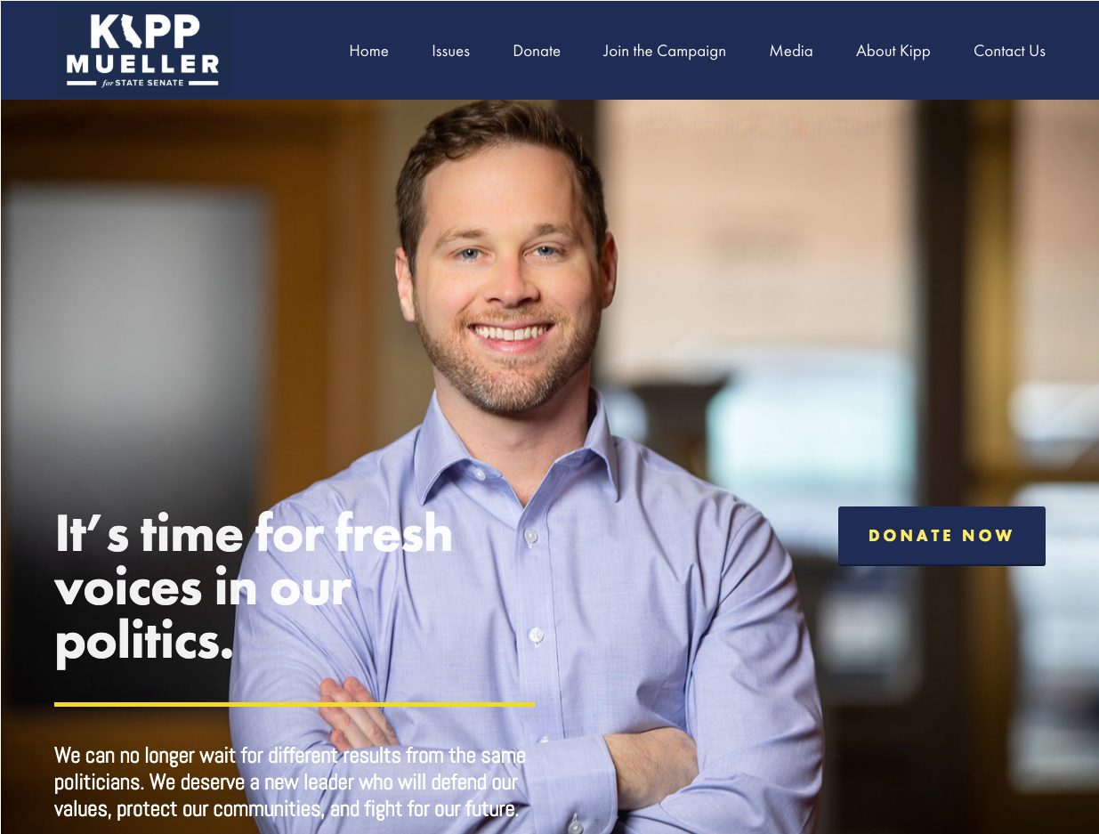 Homepage for Kipp Mueller's campaign. Kipp is running for California State Senate in district 21.