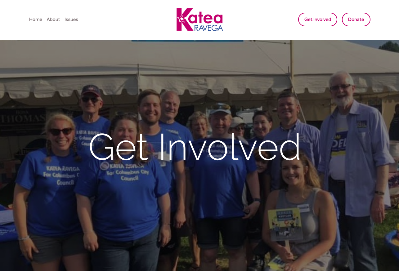 Screenshot of Katea Ravega's campaign website. Katea Ravega is running for city council in Columbus, Indiana.