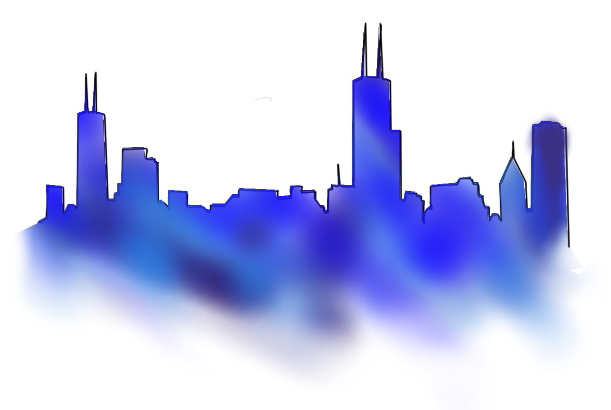 Option 1:  Chicago Skyline Line Work With Watercolor