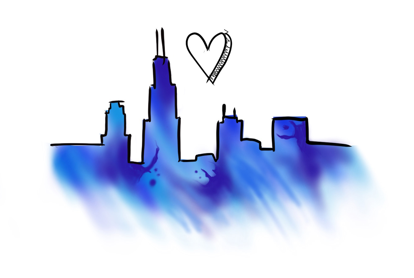 Option 2:  Chicago Skyline Hand Drawn With Watercolor