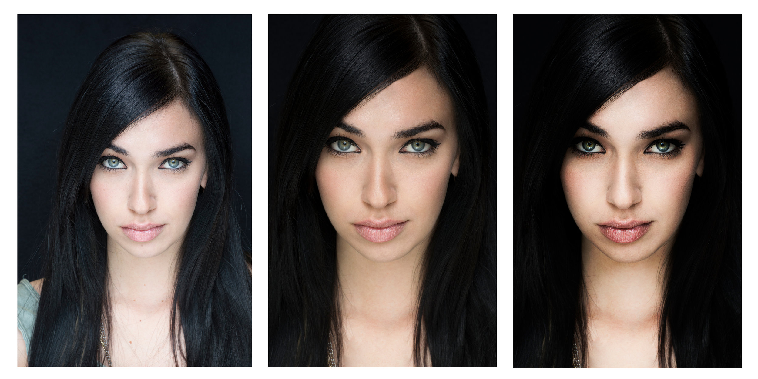 """Stages of retouching for the image used in my """"Nova"""" poster, the first being the original, the second a minor retouch, and the third a more drastic edit."""