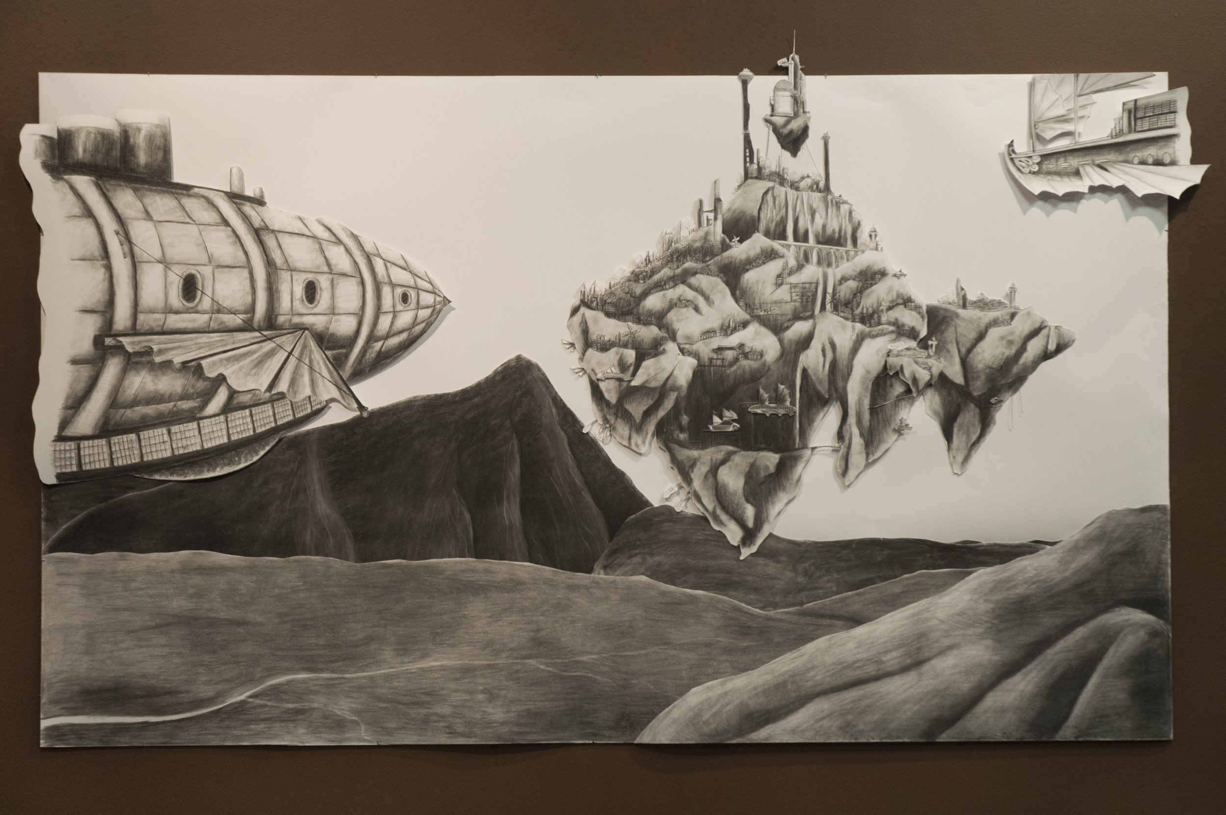 """""""The Legend of Valtura""""  9' x 5' Charcoal on layered paper  Representation of Fire"""