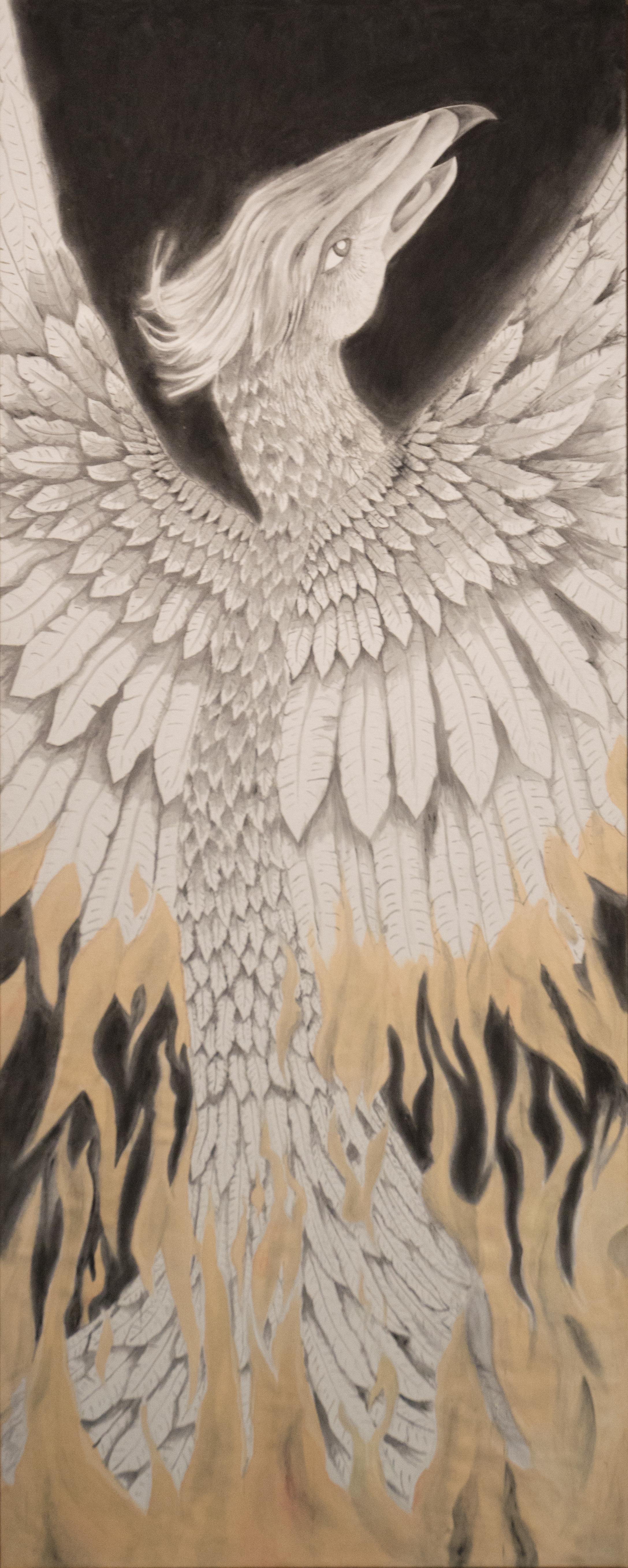 """Phoenix - Fire""  7'5"" x 3' Acrylic on duck cloth"