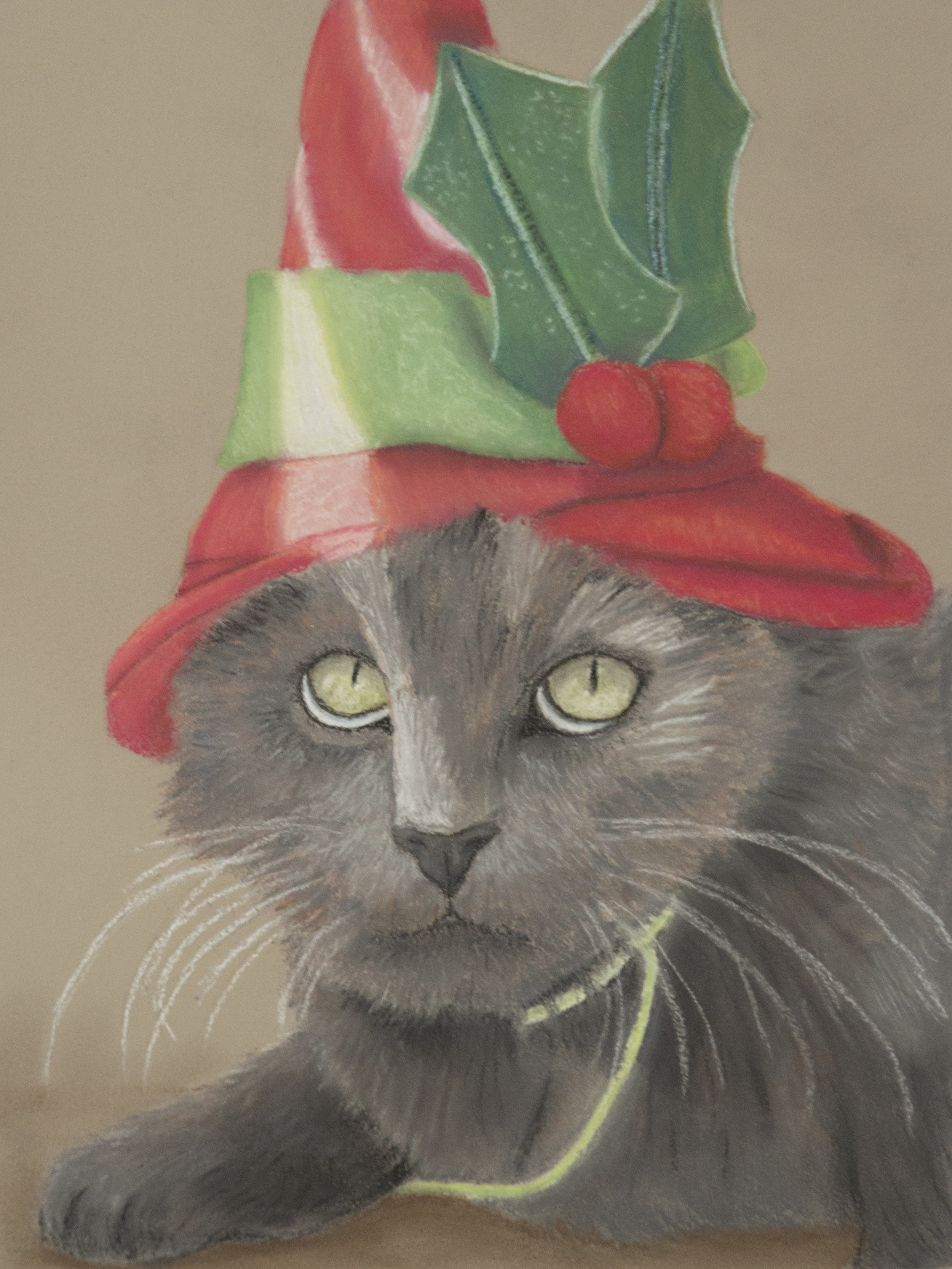 """Christmas Kitty""  Oil pastel 9x12"" March 2015"