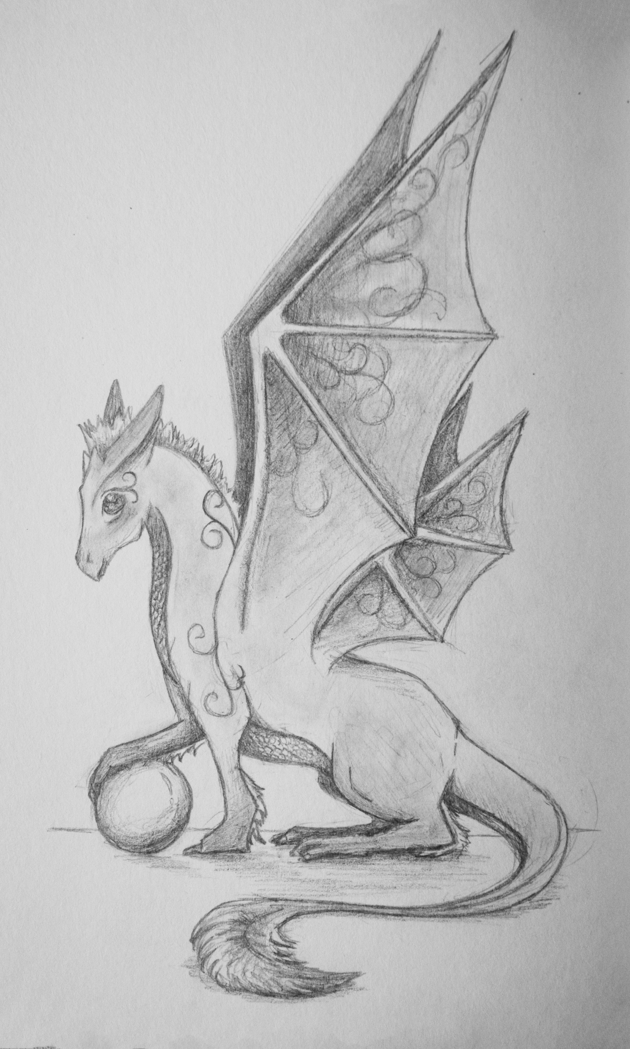 """Elfin - Word as Dragon""  Pencil on paper 5x7"" May 2016"