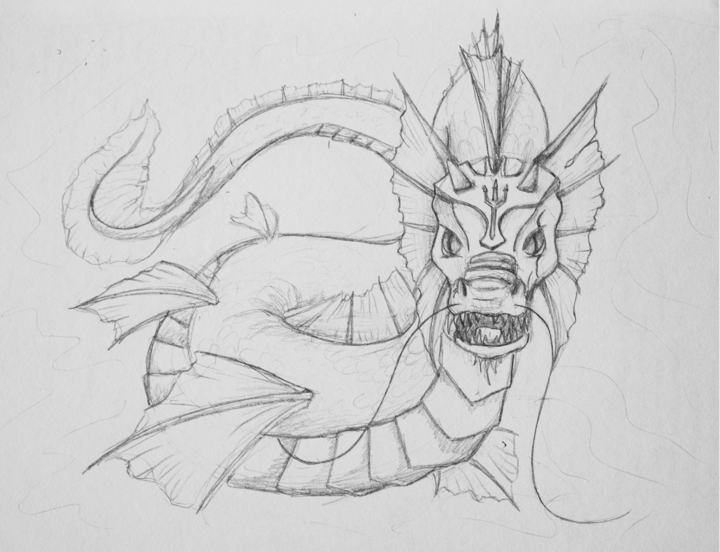 """Water - Word as Dragon""  Pencil on paper 5x7"" June 2016"