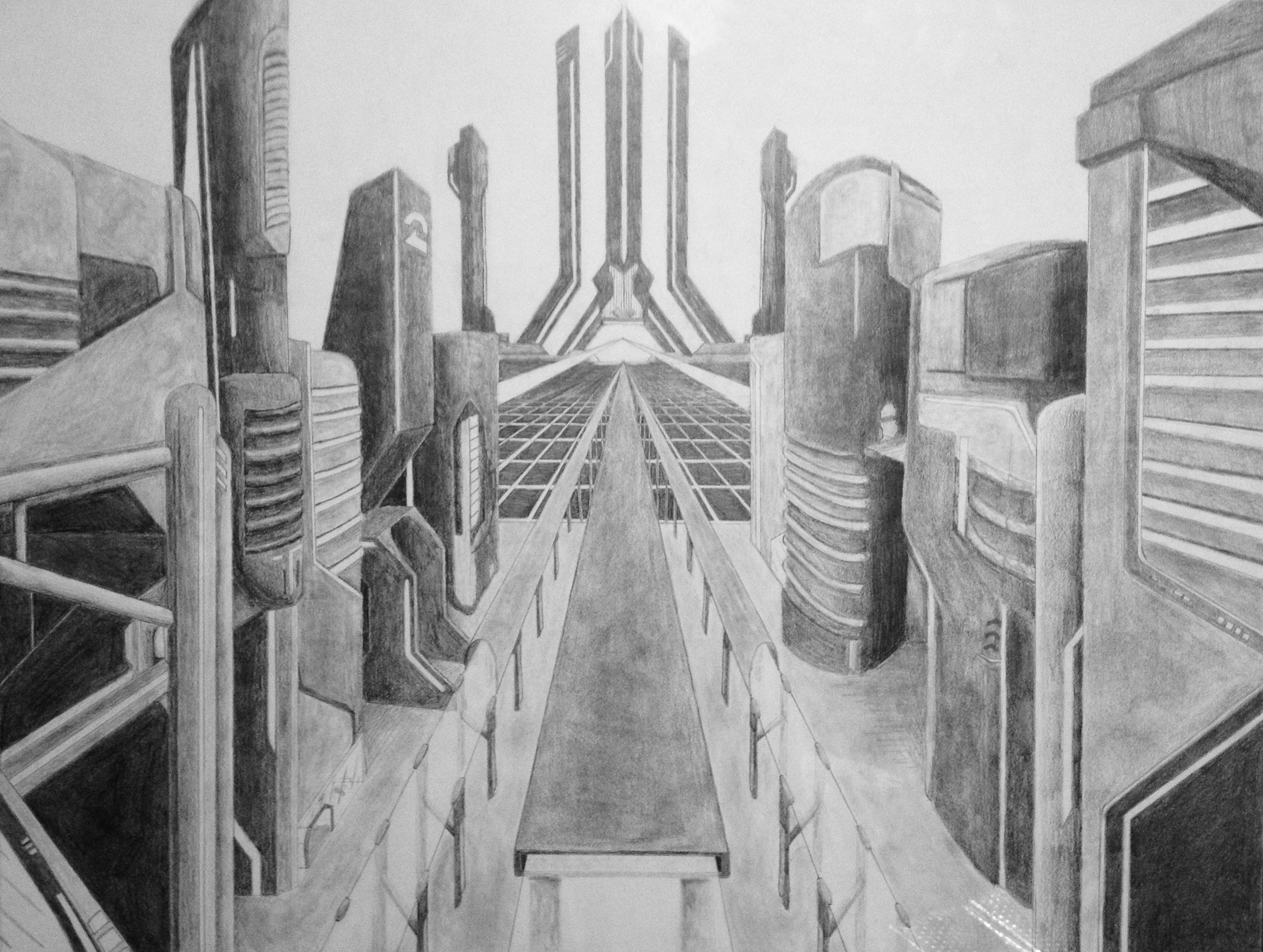 """Cyber-city""  Pencil on paper 36x24"" October 2013"