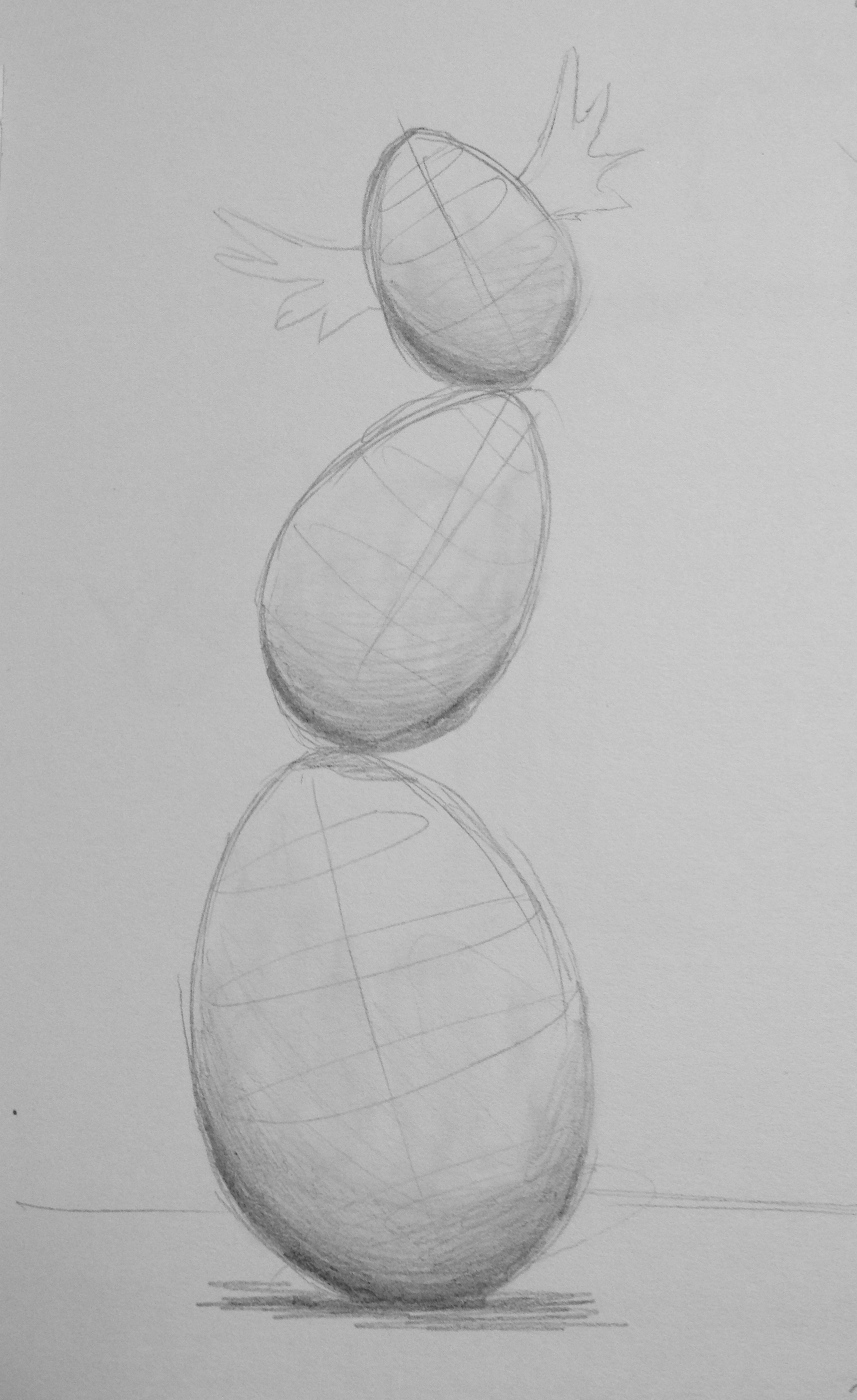 """Eggs""  Pencil on paper 5x7"" September 2014"