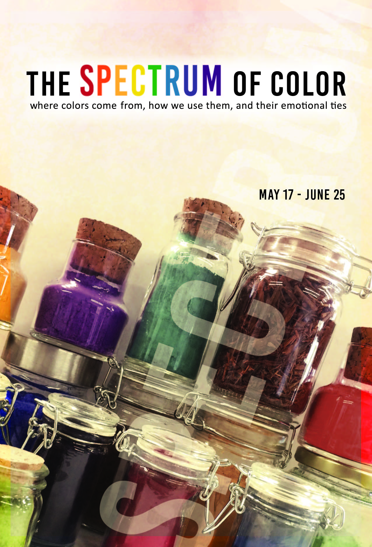 "Postcard front for ""The Spectrum of Color"" art gallery  May-June 2016"