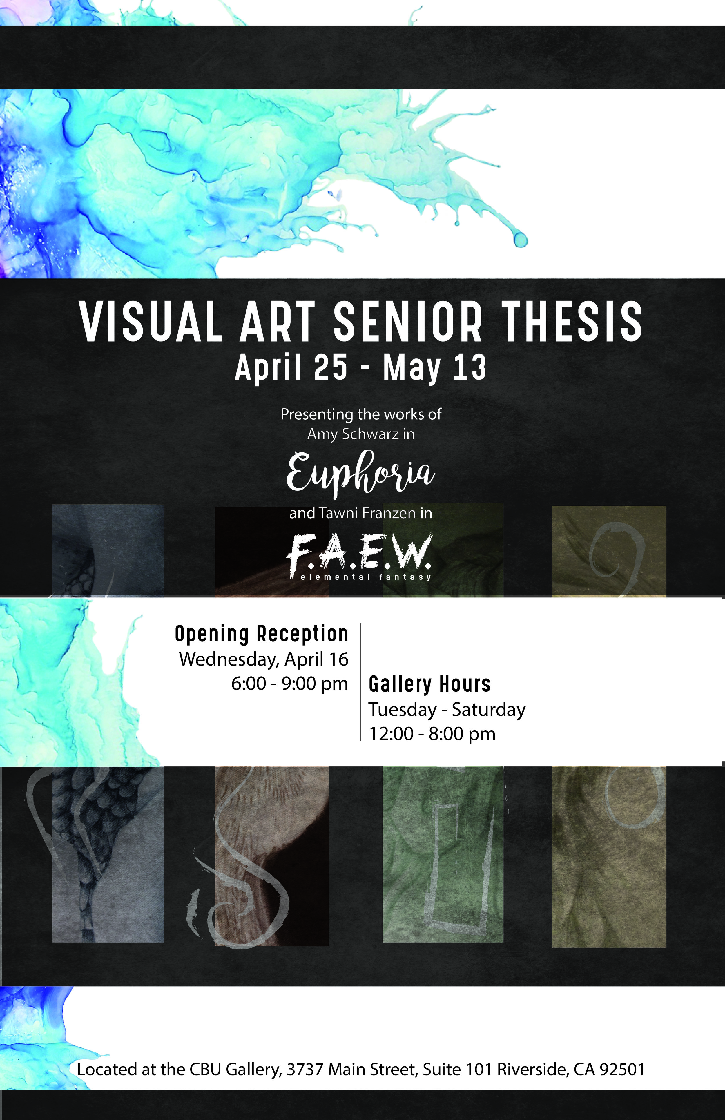 "Combined poster for ""F.A.E.W."" and ""Euphoria"" art galleries  April-May 2017"