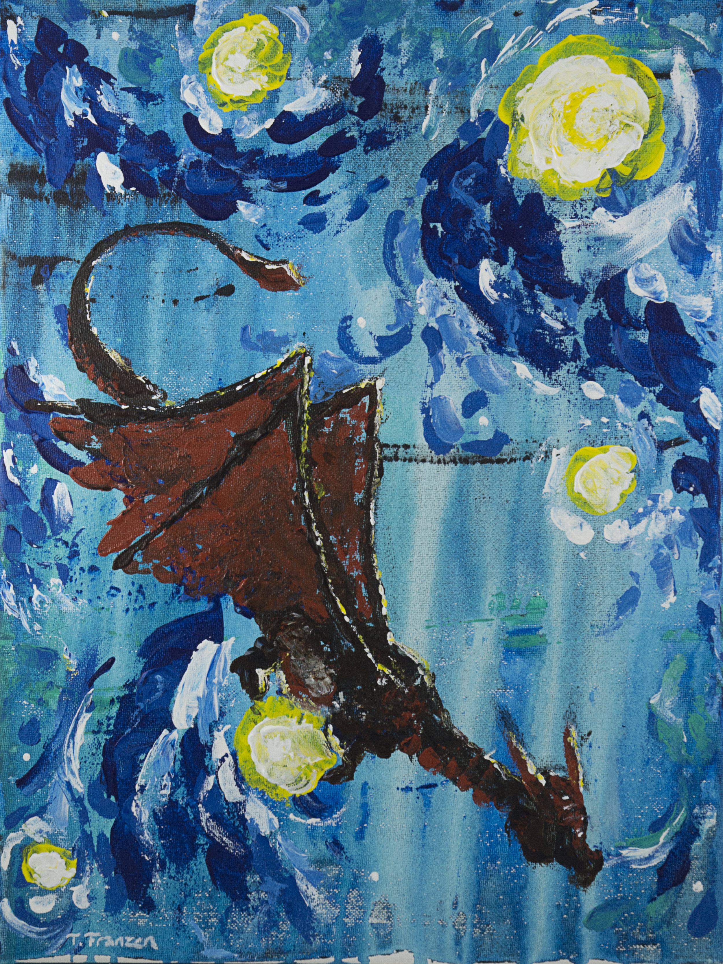 """Starry Dragon""  9x12"" Acrylic on canvas July 206"