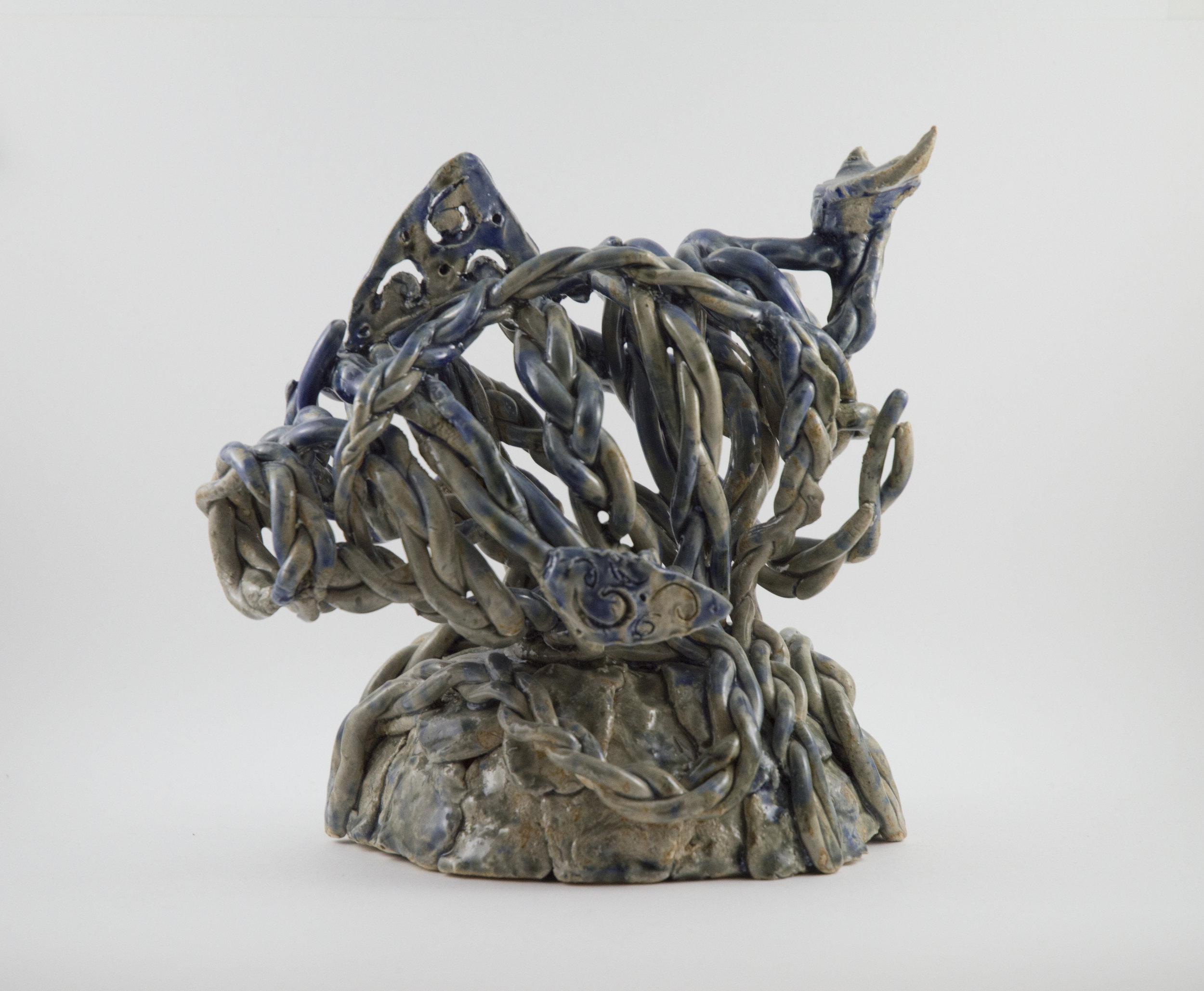 """Braided Dolphin""  Stoneware Clay and Glaze"