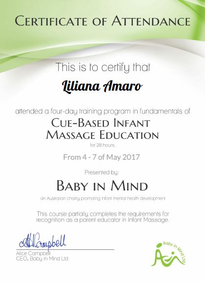 Certificado de Instructor en Massage Infantil....Mayo 2017