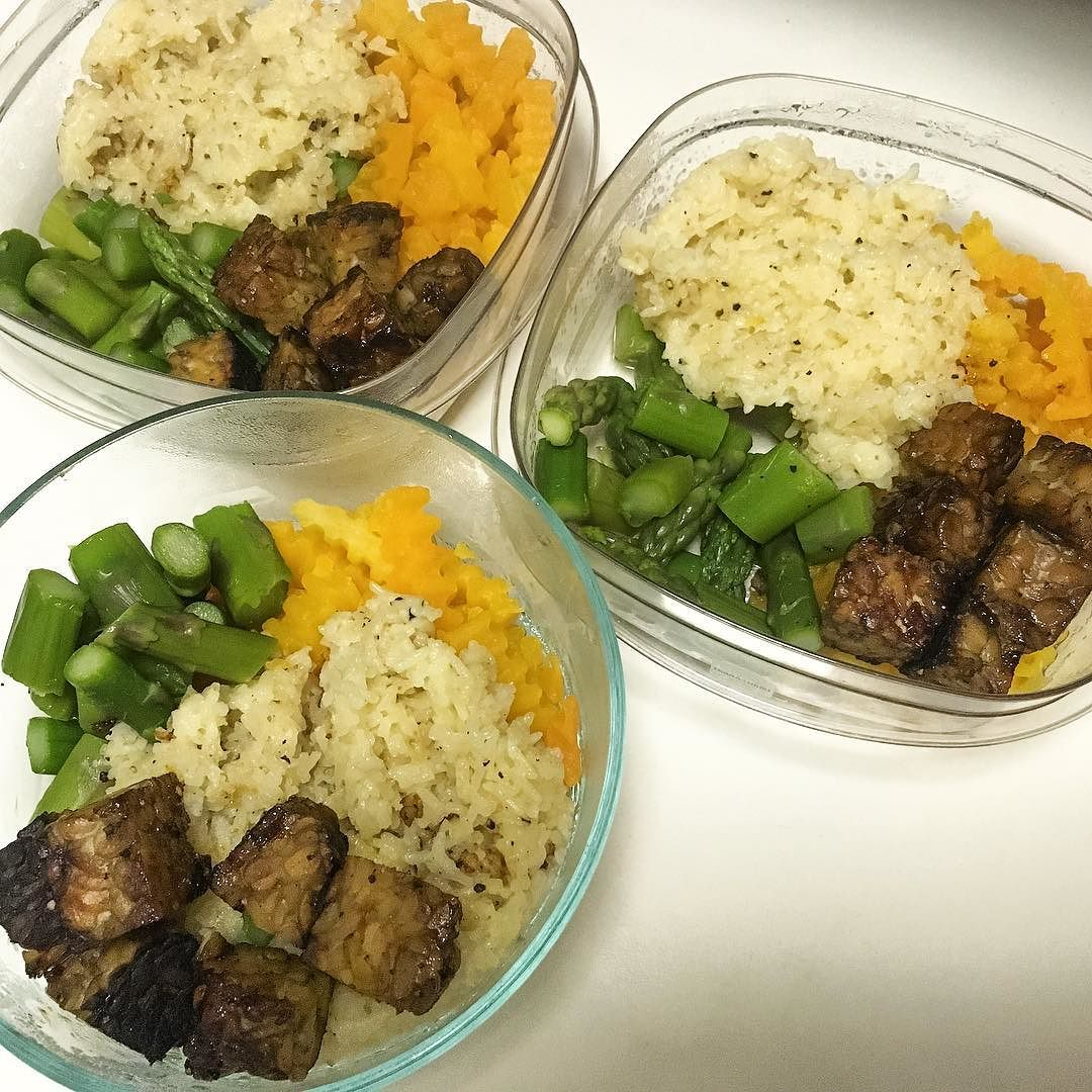 food prep - tempeh served with white rice, butternut squash, and asparagus