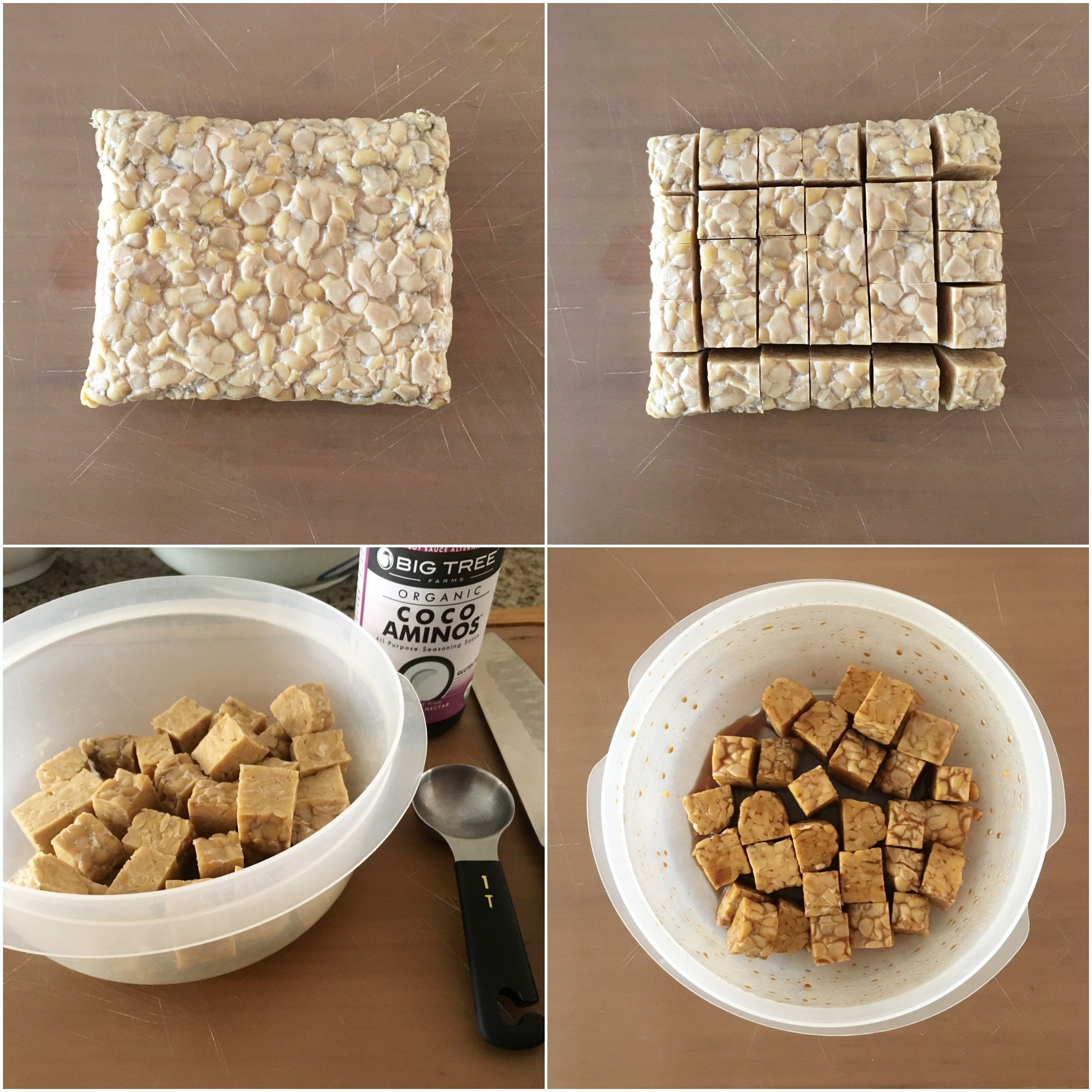 Remove tempeh from the package / cut into 30 cubes / place into a container with a lid / pour 2 tbsp sauce, put on lid, and shake!