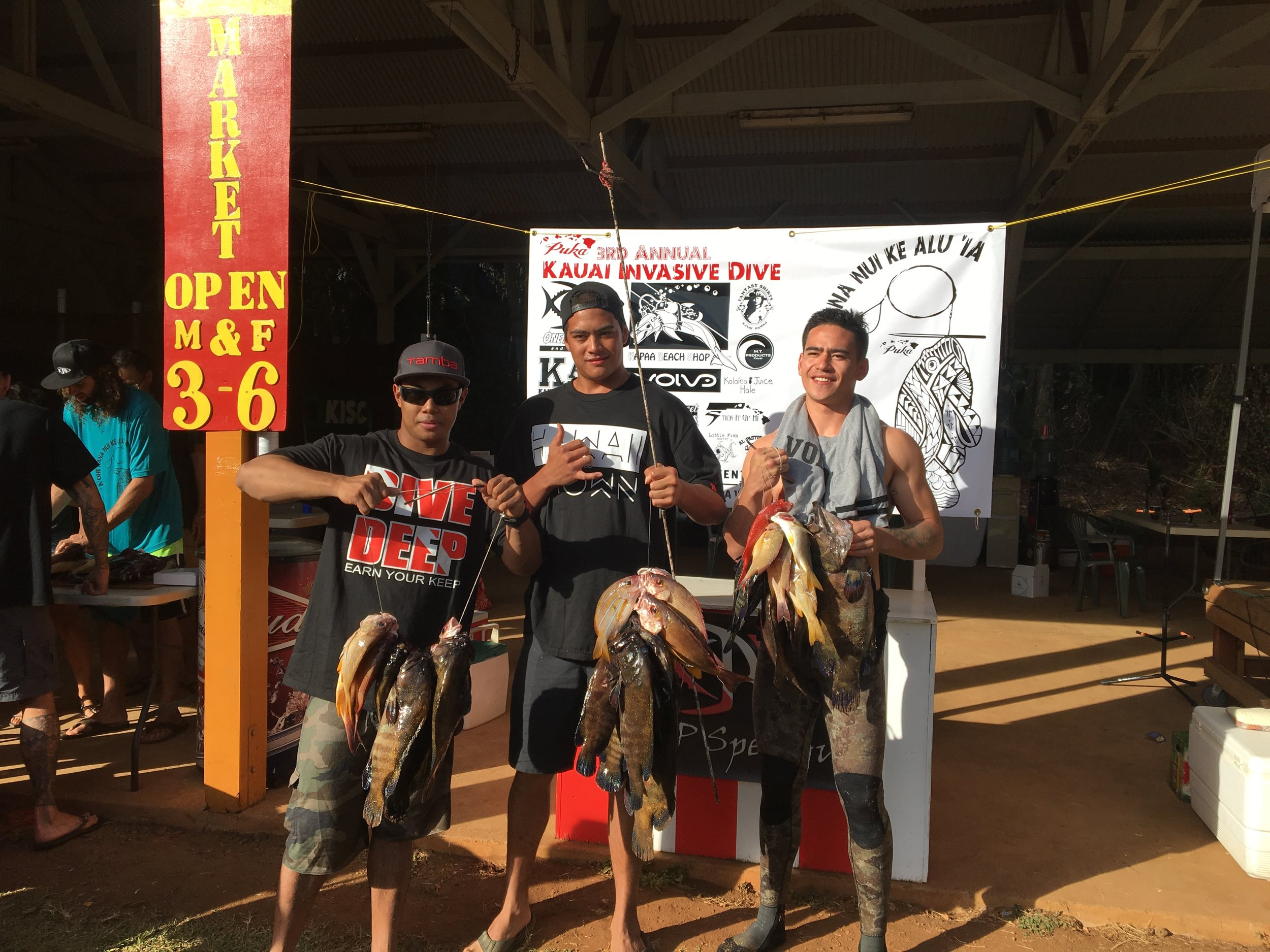 This Team Trio of Jundell Sagucio, Kawika Christian, and Michael Booth doing damage and taking home 1st place for the Largest Roi of the tournament at 5.9lbs, also top honors in a few other categories as well.