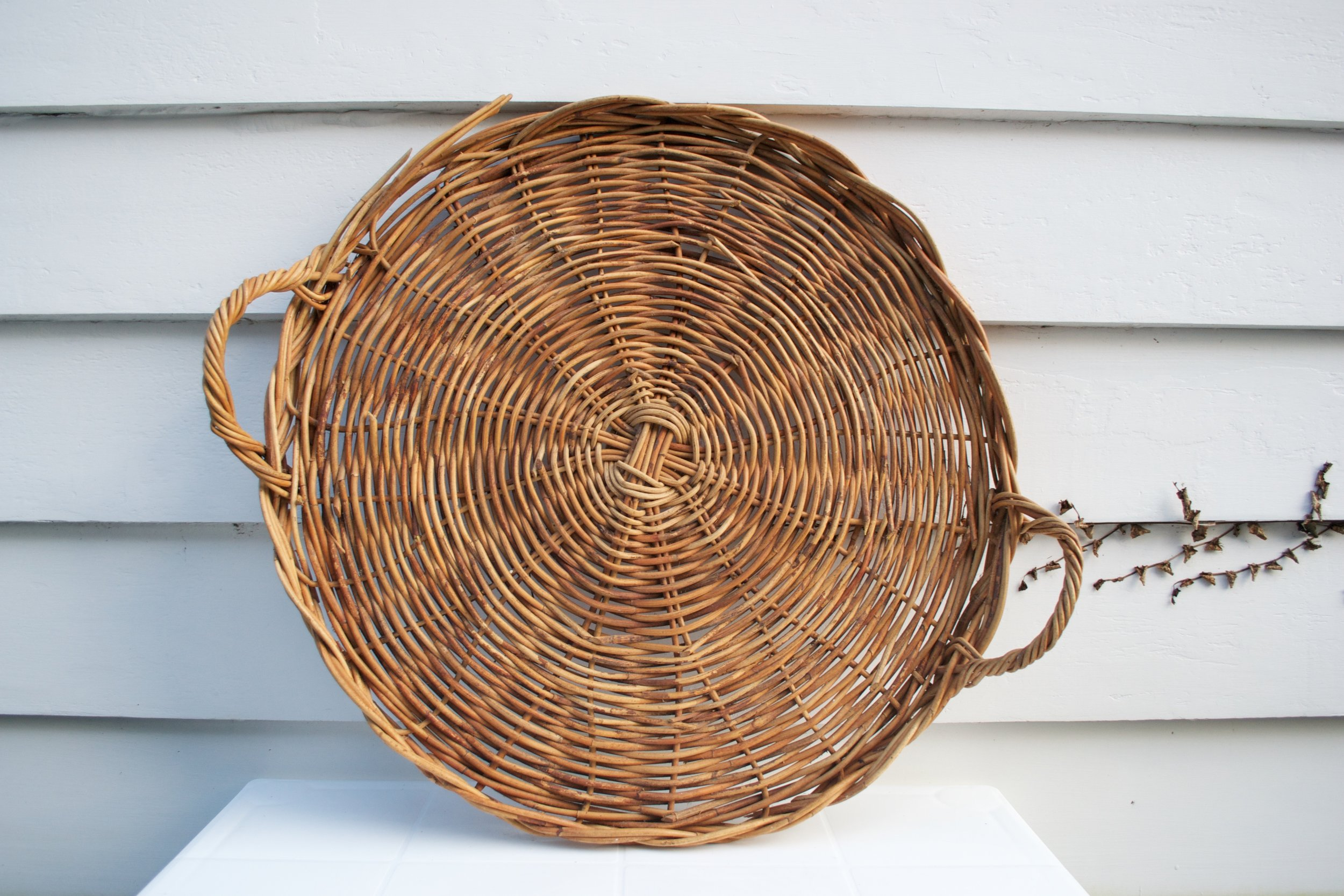 large round woven flat basket with handles x1 $5
