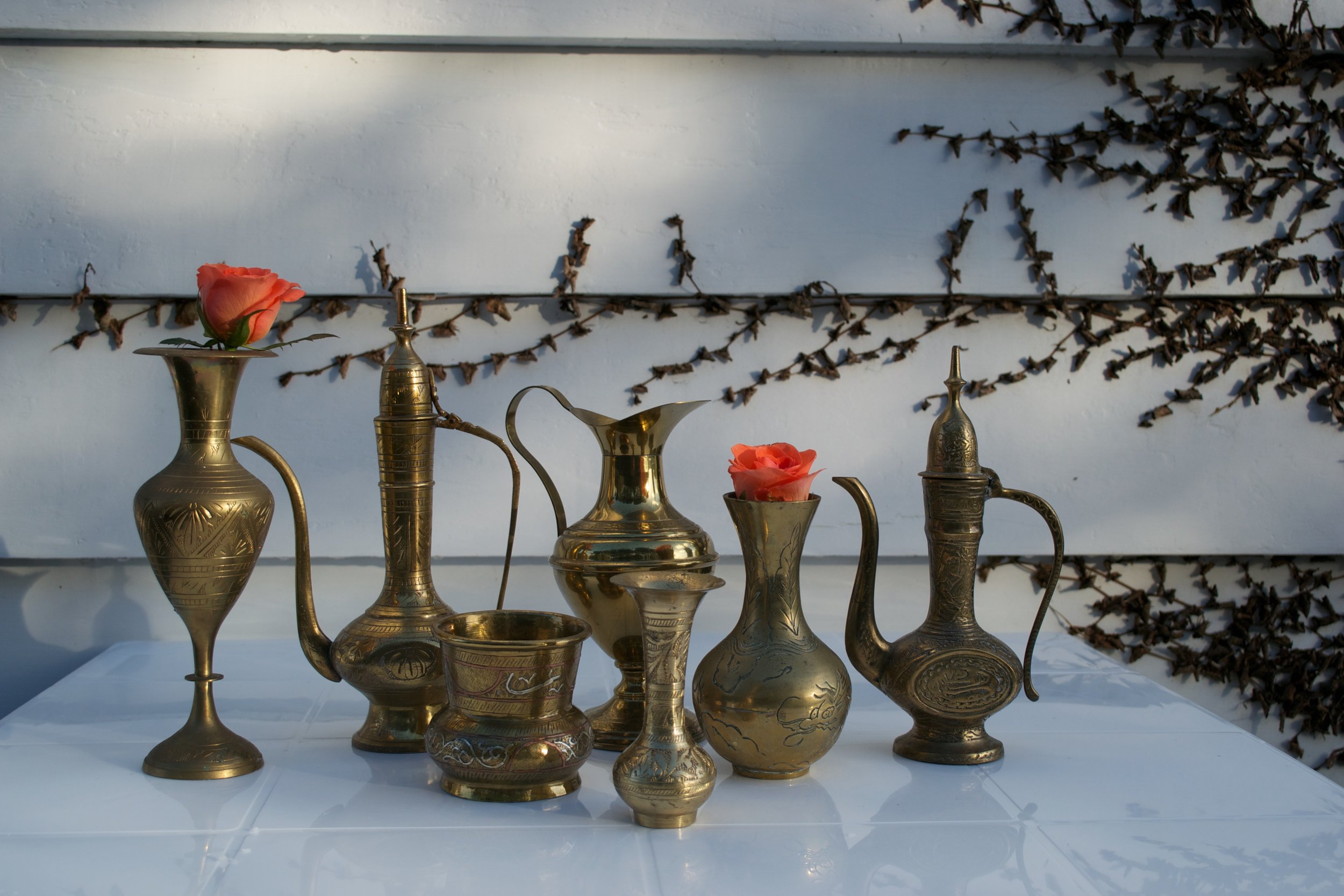 set of moroccan props x1 (the above x7 items, x3 candle holders, x3 small plates, x1 silver tray)
