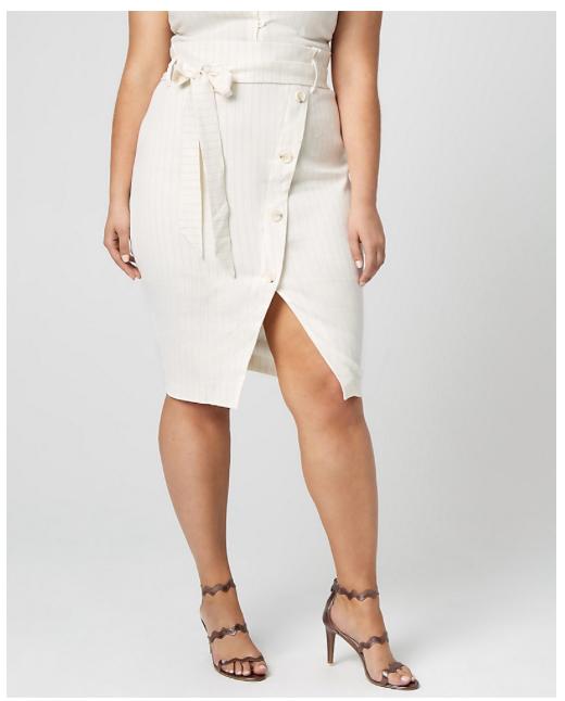 Stripe Linen Blend Paper Bag Skirt